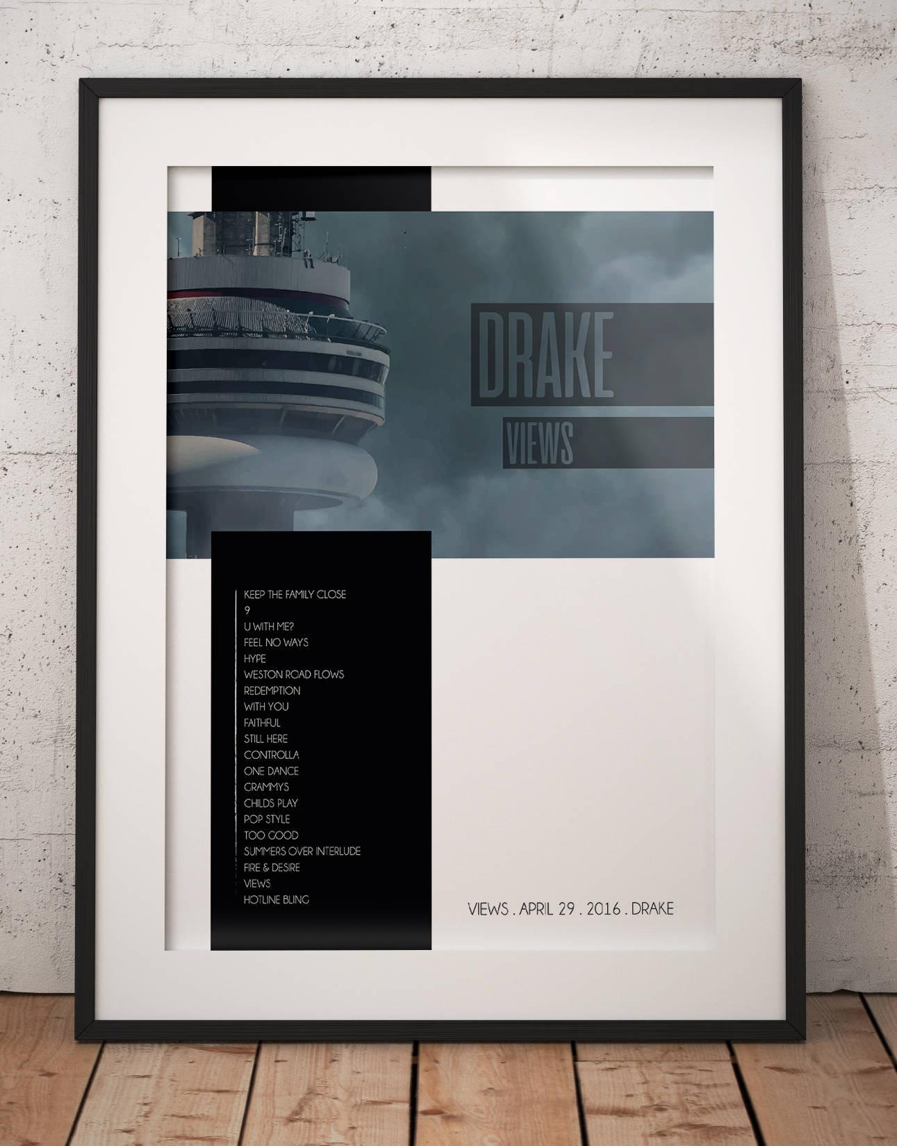 Drake Views Album, Drake Views Poster, Drake Print, Poster, Art, Drake Wall Decor, Drake Views, Fan Art Regarding Dance Of Desire Wall Decor (Gallery 12 of 30)