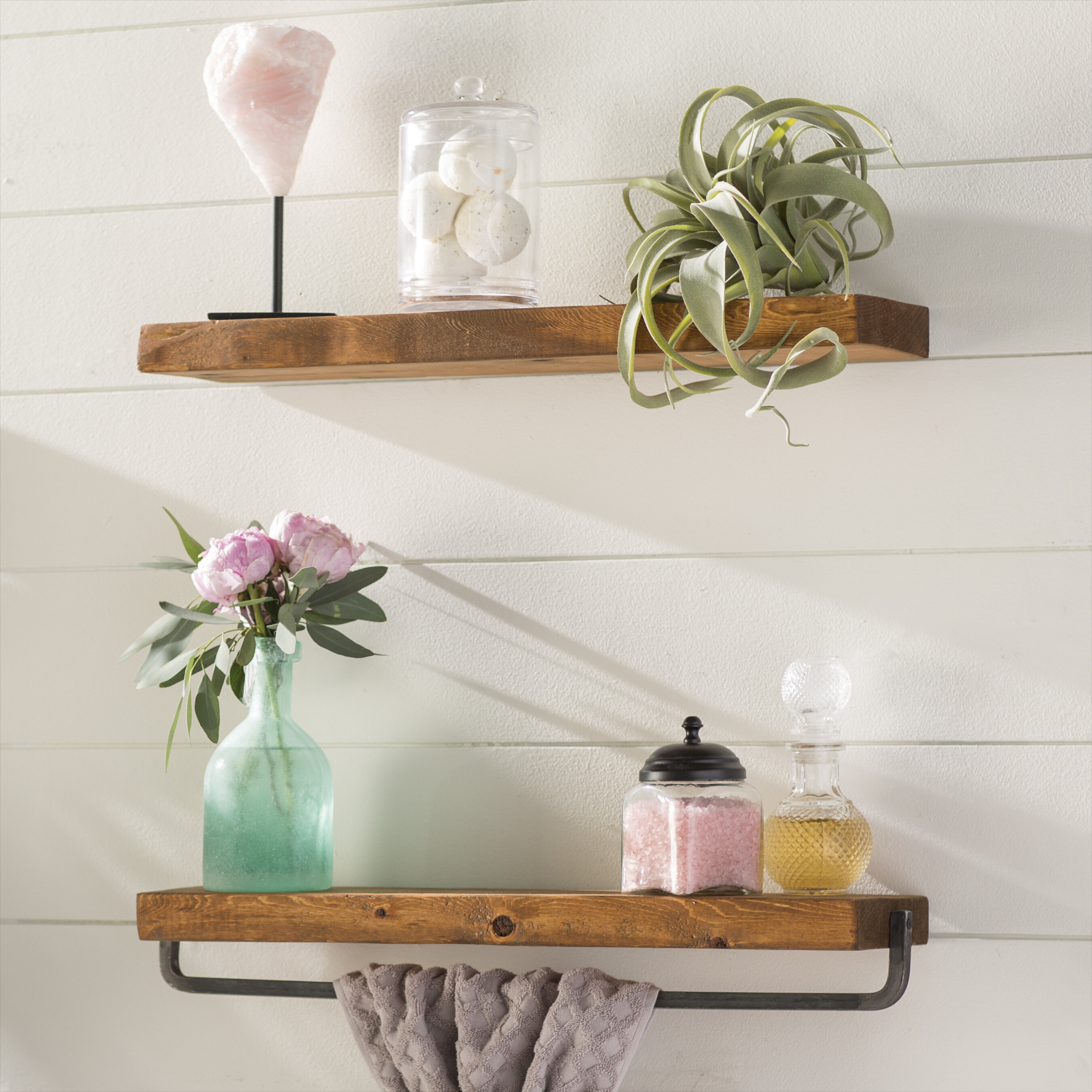 Drew 2 Piece Wall Shelf Set Pertaining To Farm Metal Wall Rack And 3 Tin Pot With Hanger Wall Decor (View 12 of 30)