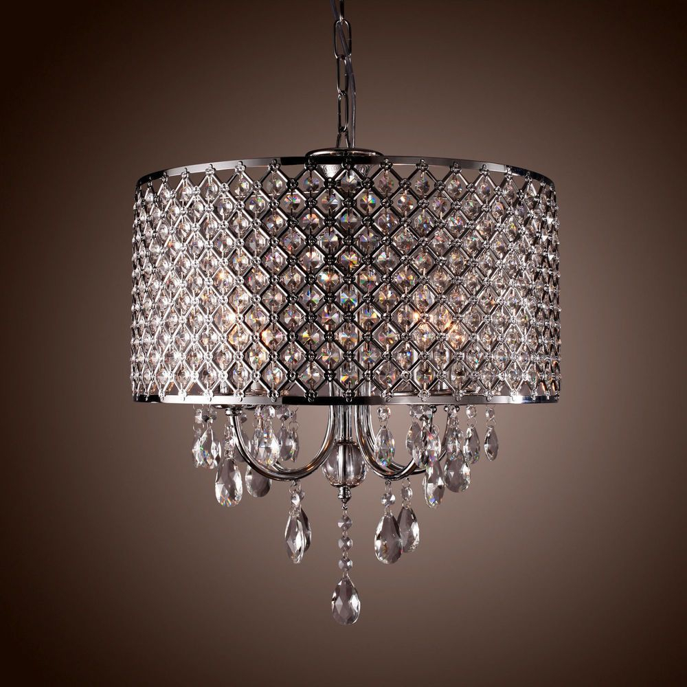 Drum Crystal Chandelier Modern 4 Lights Shade Pendant Lamp Pertaining To Aurore 4 Light Crystal Chandeliers (Gallery 12 of 30)