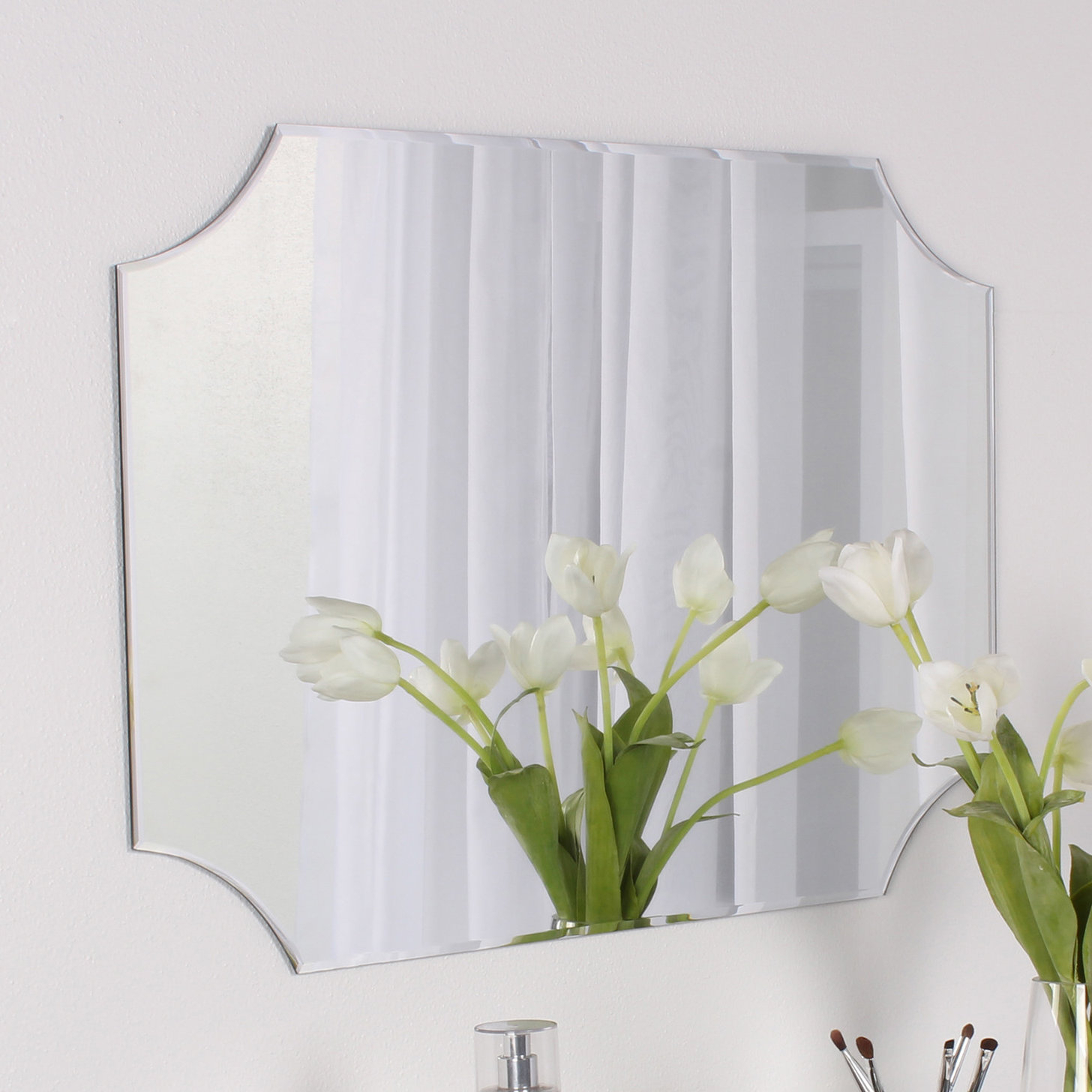 Dsov Reign Frameless Rectangle Scalloped Beveled Wall Mirror Regarding Lidya Frameless Beveled Wall Mirrors (View 7 of 30)