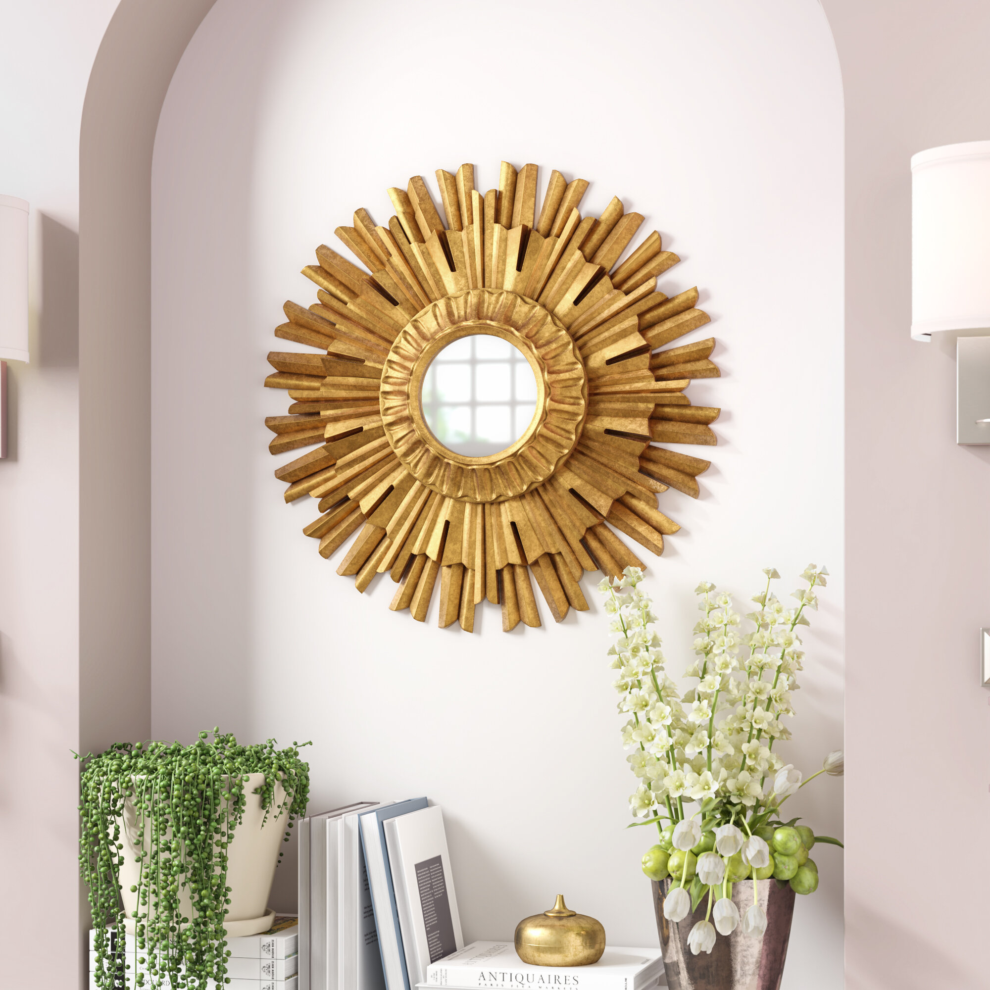 Durkee Circular Wall Mirror regarding Starburst Wall Decor By Willa Arlo Interiors (Image 6 of 30)