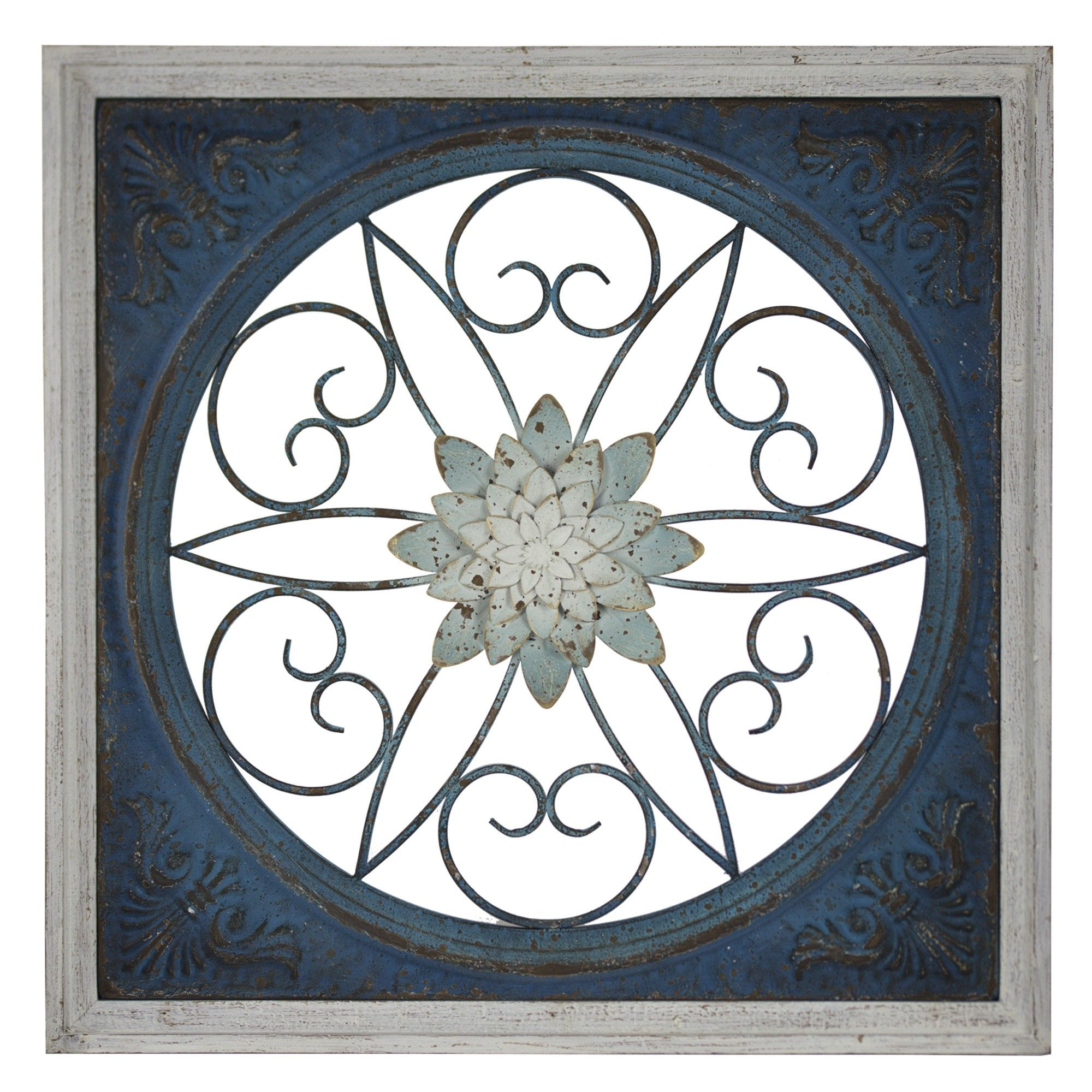 E2 Concepts Blue Floral Metal And Wood Wall Decor Blue Regarding 2 Piece Metal Wall Decor Sets By Fleur De Lis Living (View 17 of 30)
