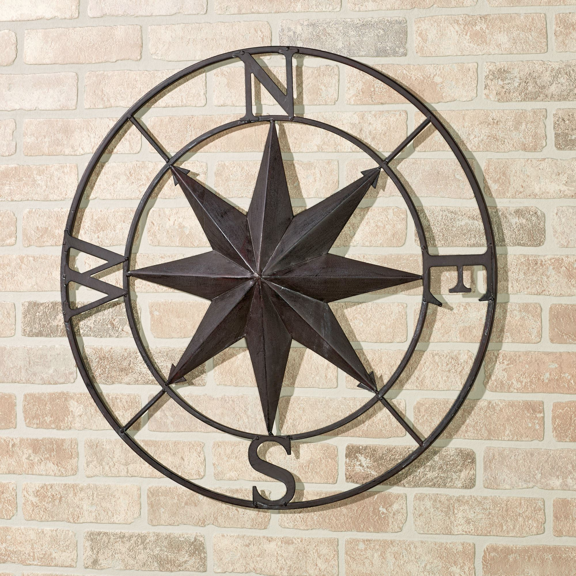 Earhart Indoor Outdoor Compass Wall Art with regard to Round Compass Wall Decor (Image 12 of 30)