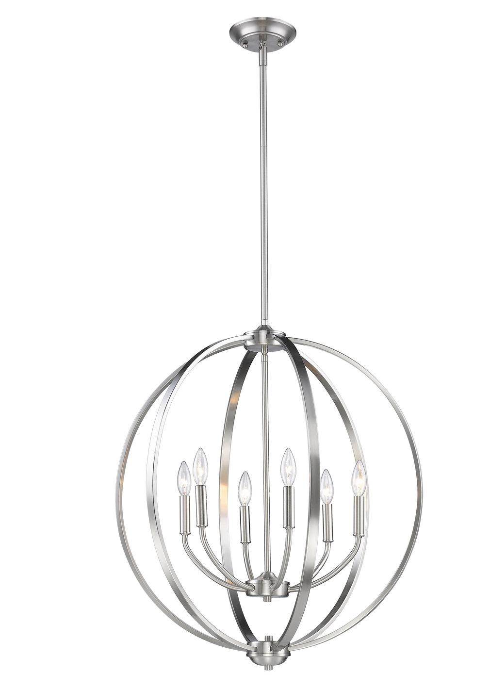 Earlene 6-Light Globe Chandelier inside Adcock 3-Light Single Globe Pendants (Image 14 of 30)