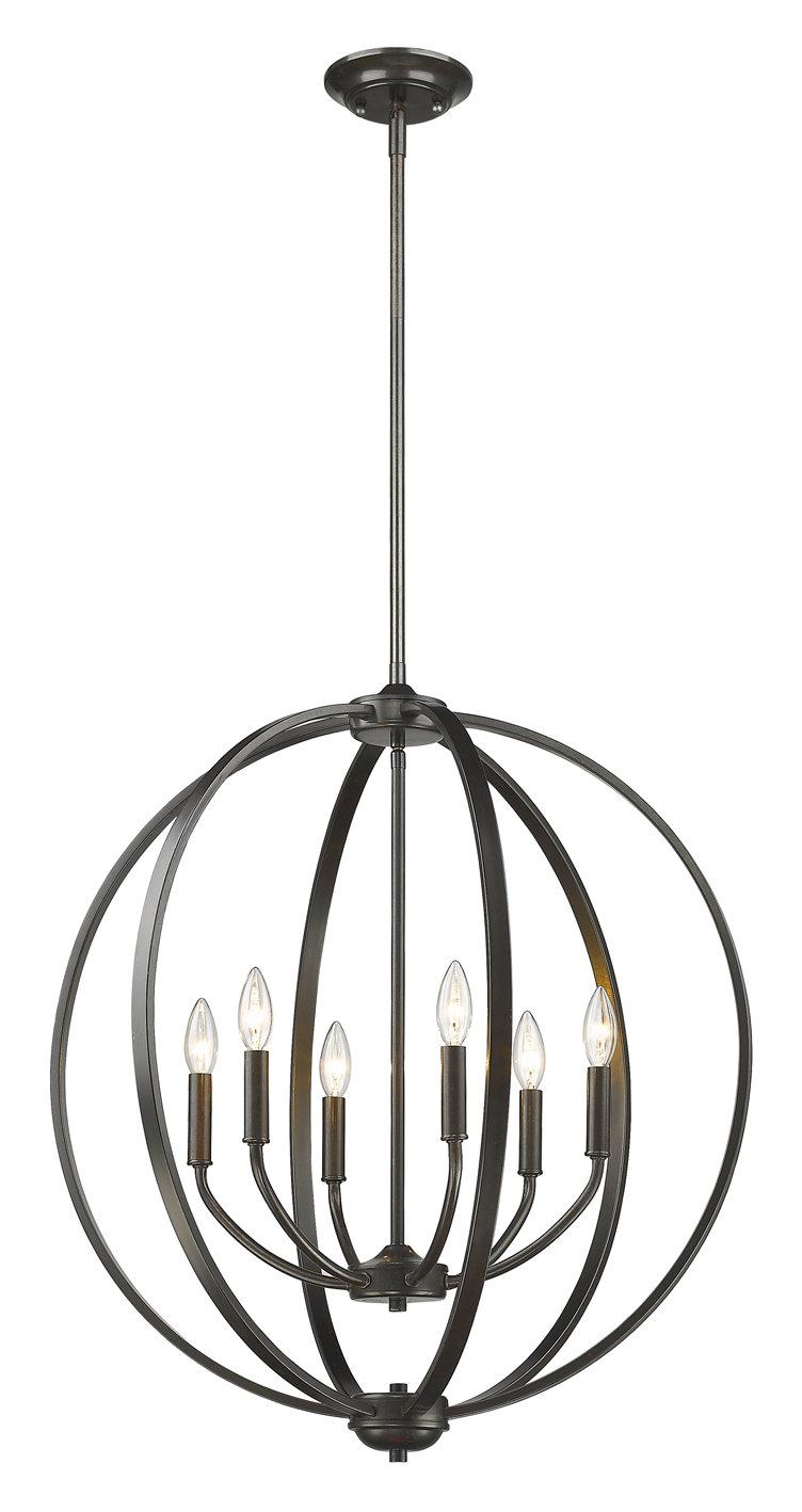 Earlene 6 Light Globe Chandelier Pertaining To Adcock 3 Light Single Globe Pendants (View 23 of 30)