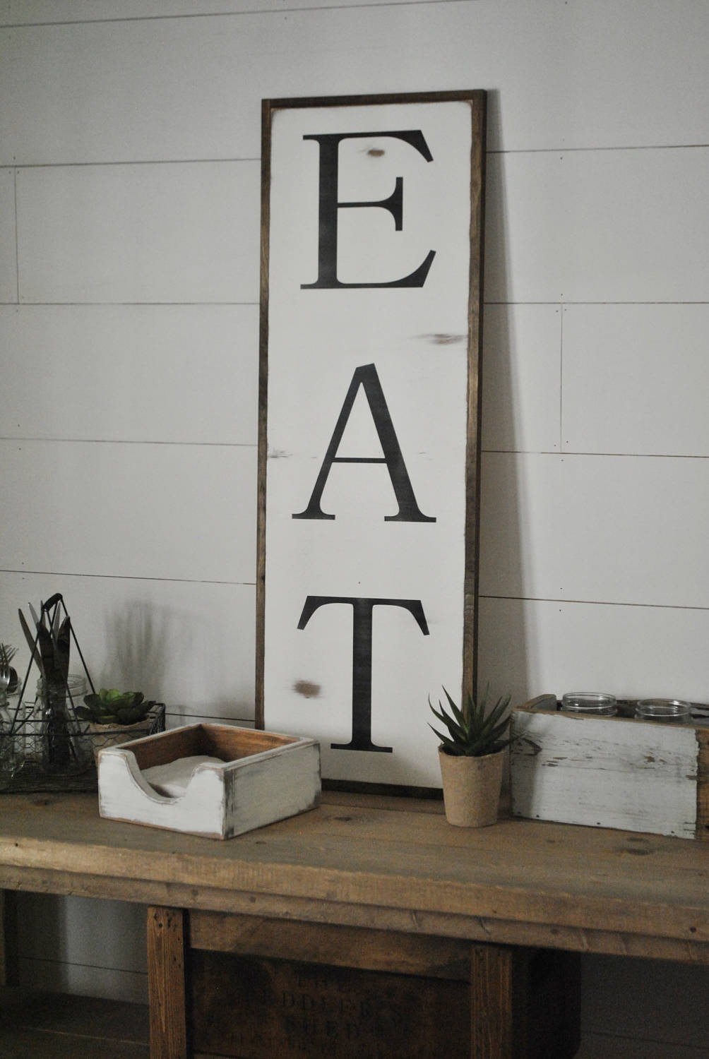 Eat 1X3 Sign | Farmhouse Dining Room Wall Decor | Kitchen In Eat Rustic Farmhouse Wood Wall Decor (Gallery 3 of 30)