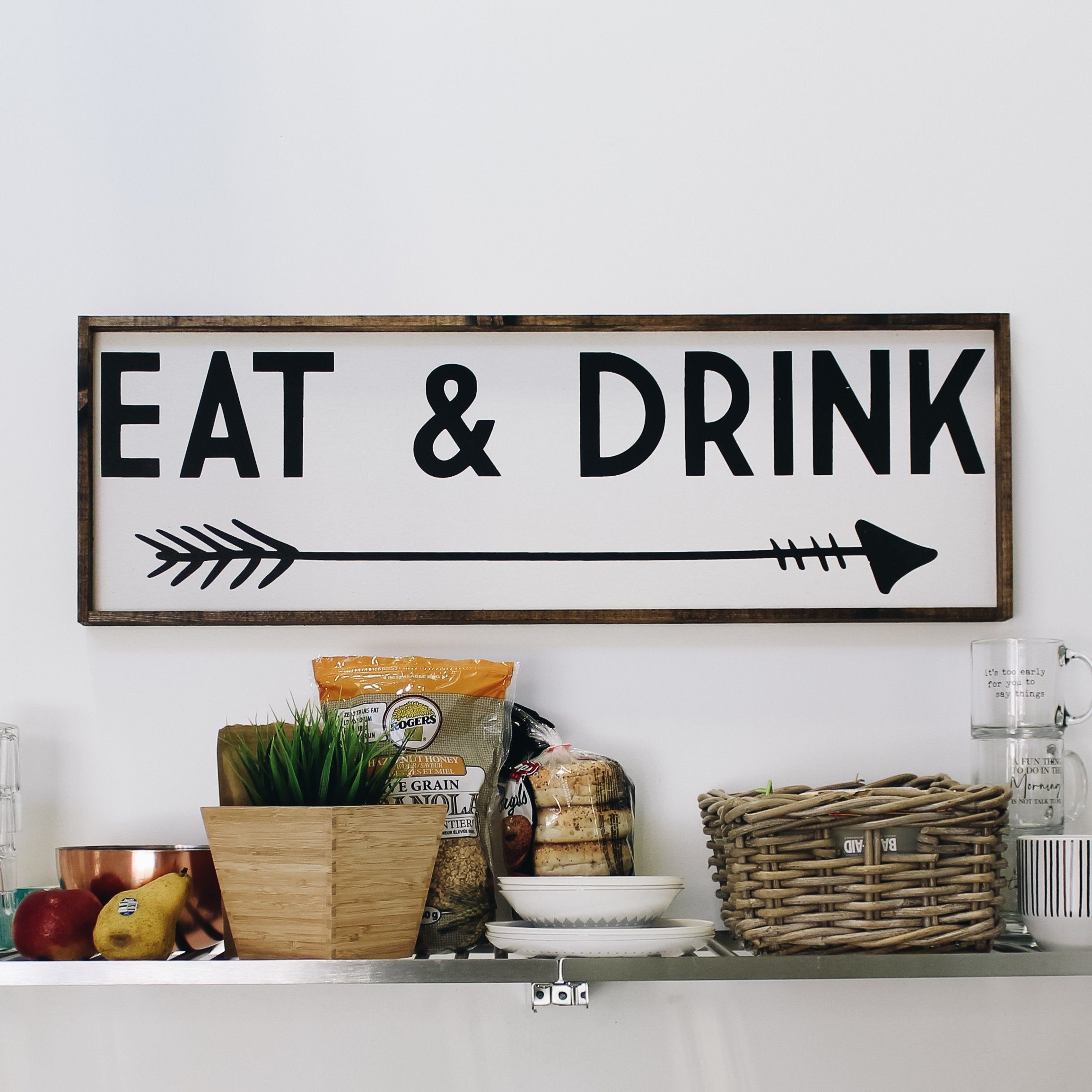 Eat & Drink Wood Sign | Farmhouse Style Framed Wood Wall Art | Modern  Rustic Kitchen Wall Decor With Eat Rustic Farmhouse Wood Wall Decor (Photo 12 of 30)