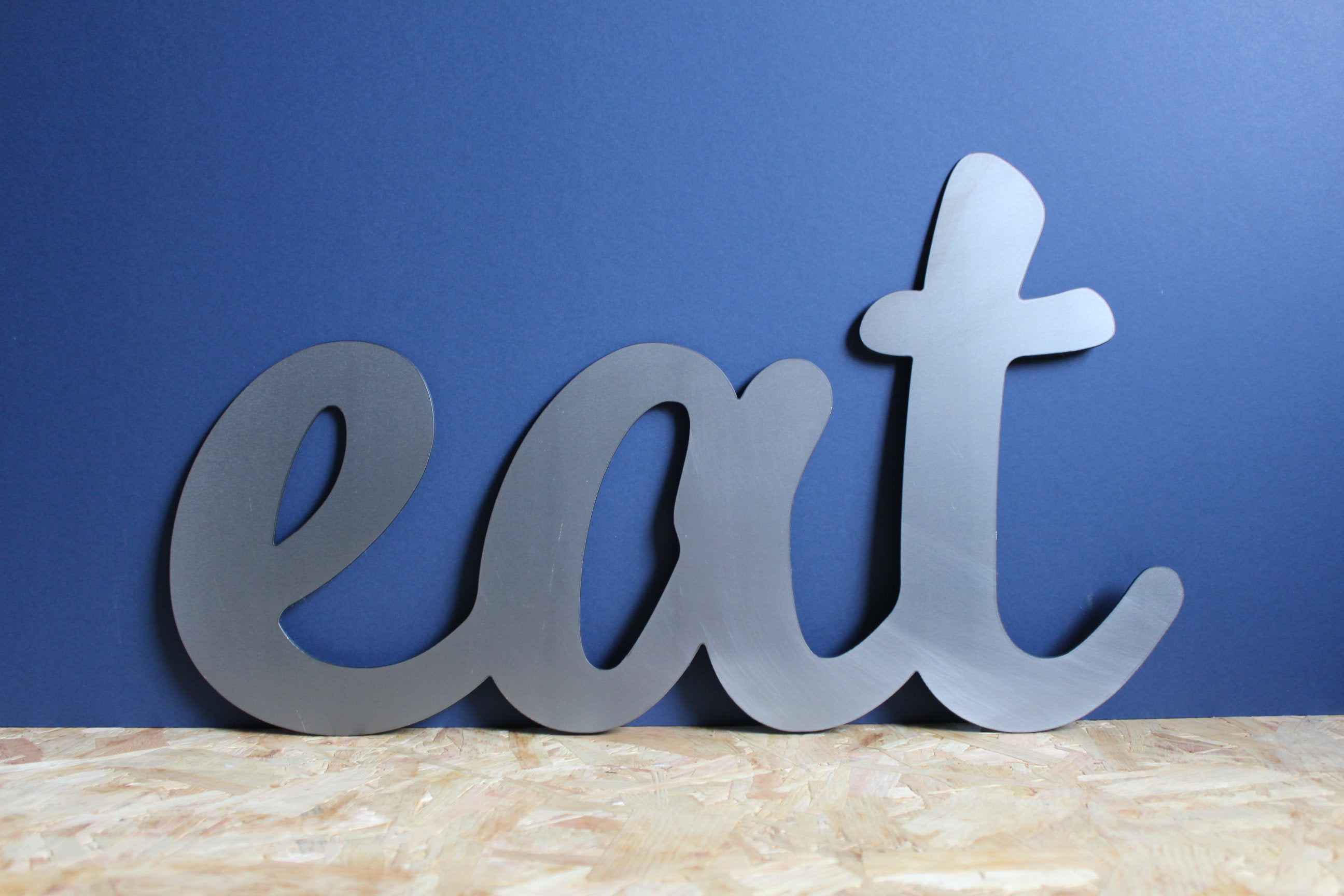 Eat Metal Sign, Eat Word Sign, Metal Wall Art, Kitchen Wall Sign, Rustic Home Sign, Diner Wall Sign, Cursive Eat Sign, Metal Ornament Inside Choose Happiness 3D Cursive Metal Wall Decor (View 4 of 30)