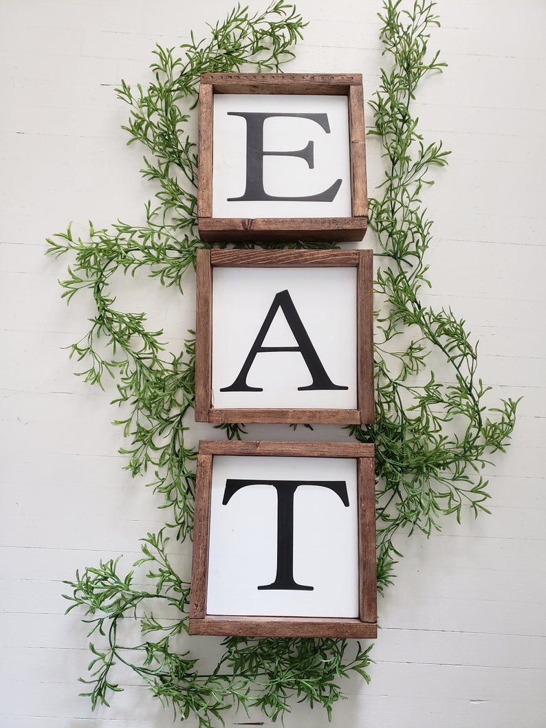 Eat Sign/ Farmhouse Style/ Wood Sign/ Kitchen Sing/ Wall Decor/ Regarding Eat Rustic Farmhouse Wood Wall Decor (Photo 17 of 30)