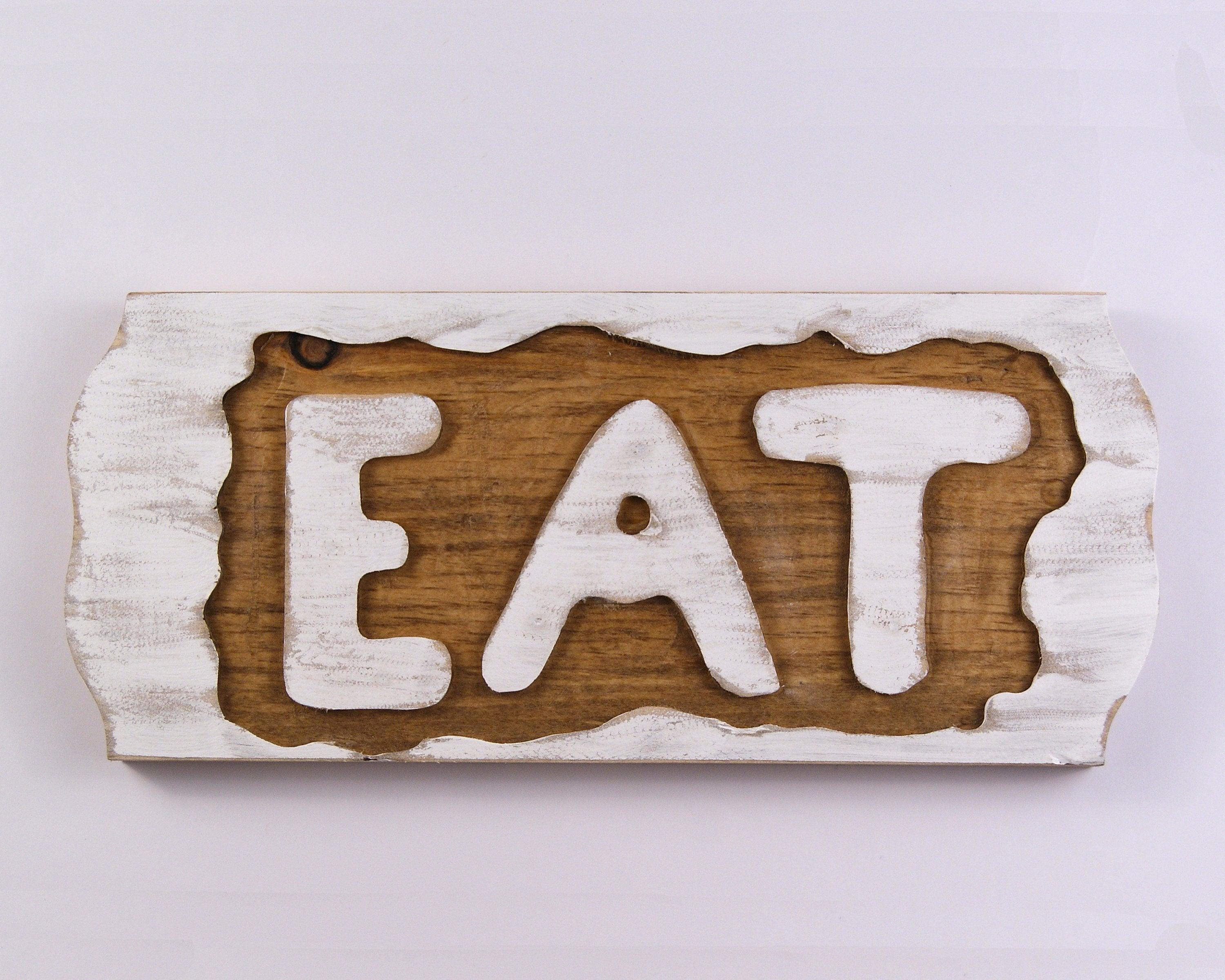 Eat Sign, Rustic White Wall Hanging, Reclaimed Wood Wall With Eat Rustic Farmhouse Wood Wall Decor (Gallery 18 of 30)