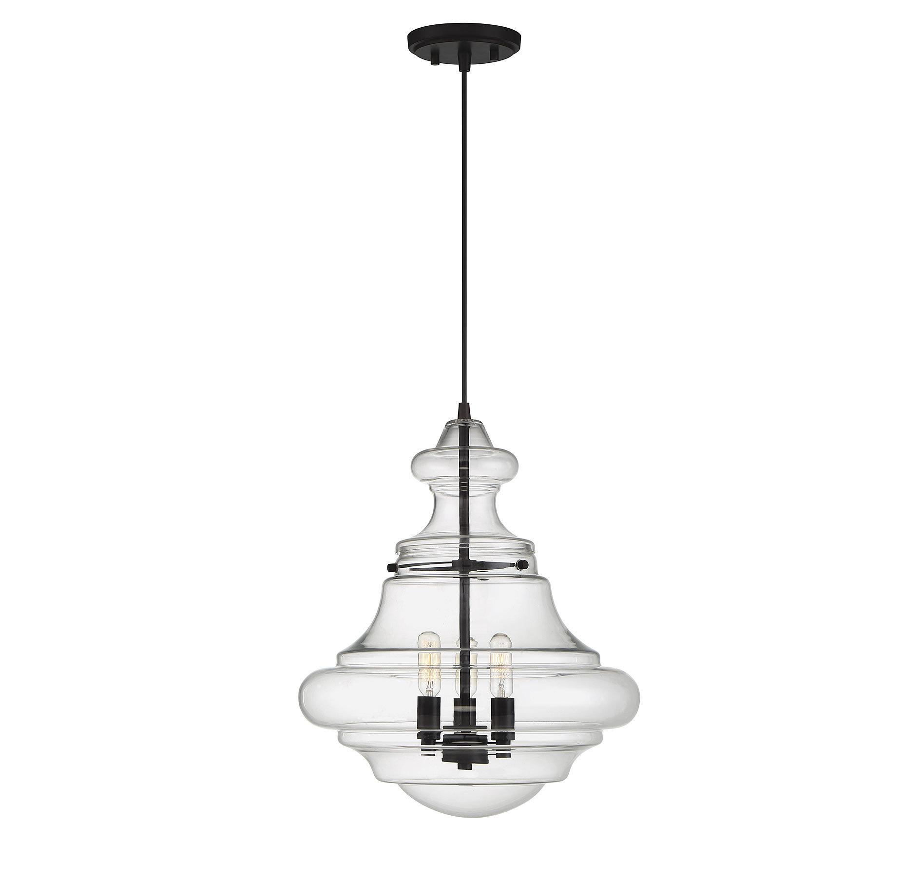 Edford 3-Light Single Schoolhouse Pendant in Akakios 1-Light Single Bell Pendants (Image 12 of 30)