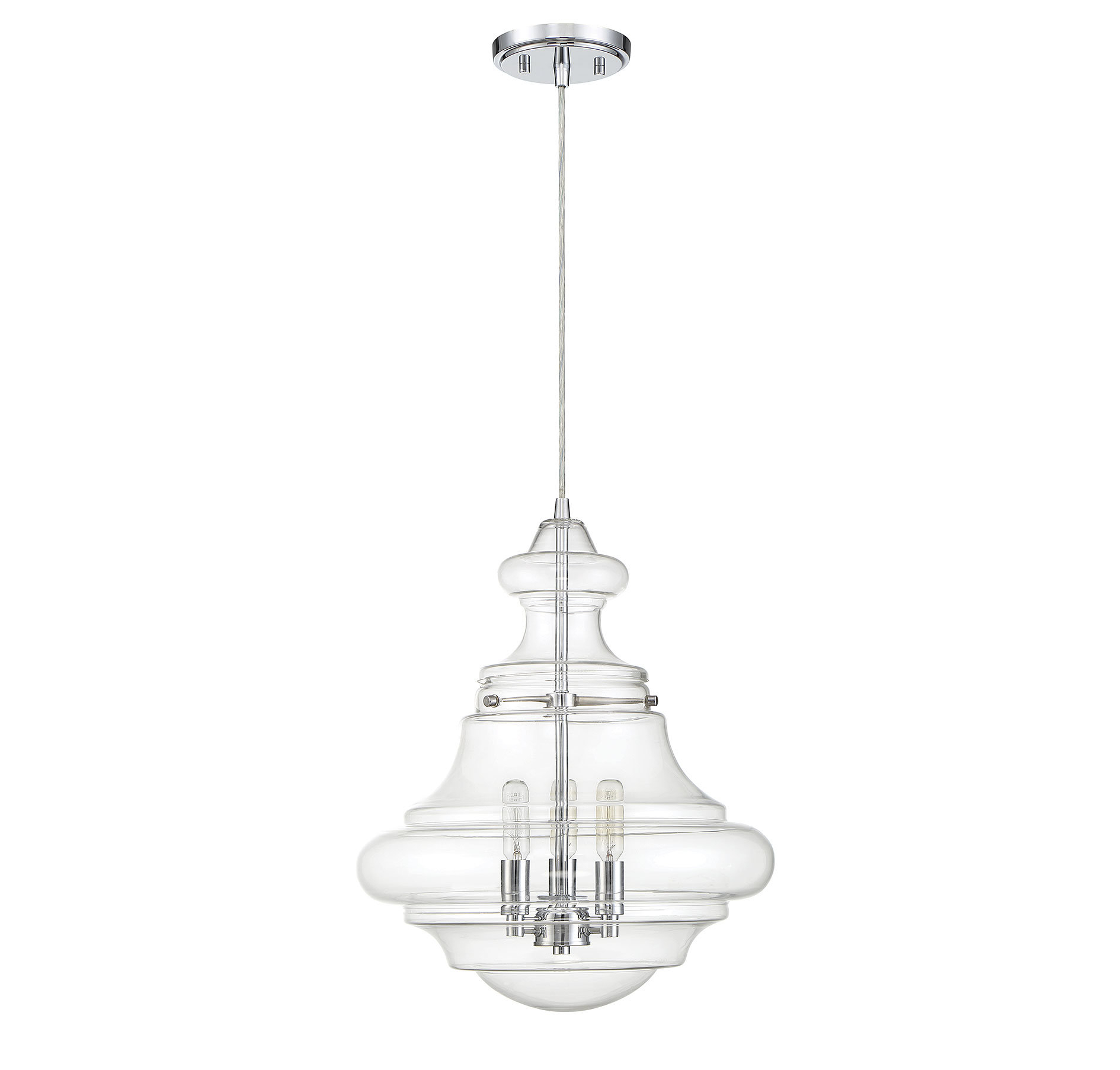 Edford 3 Light Single Schoolhouse Pendant Regarding Akakios 1 Light Single Bell Pendants (Image 13 of 30)