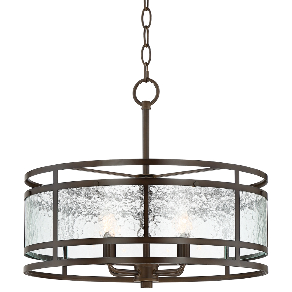 "Edinger 20"" Wide Oil-Rubbed Bronze Metal Pendant - Style inside Armande 3-Light Lantern Geometric Pendants (Image 17 of 30)"