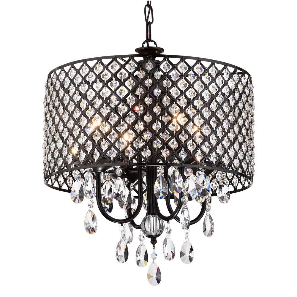 Edvivi Marya 4 Light Antique Black Round Chandelier With Throughout Mckamey 4 Light Crystal Chandeliers (View 12 of 30)