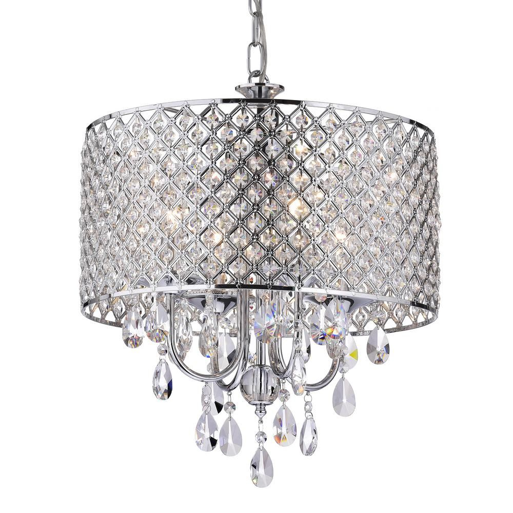Edvivi Marya 4 Light Chrome Round Chandelier With Beaded Pertaining To Albano 4 Light Crystal Chandeliers (Image 15 of 30)