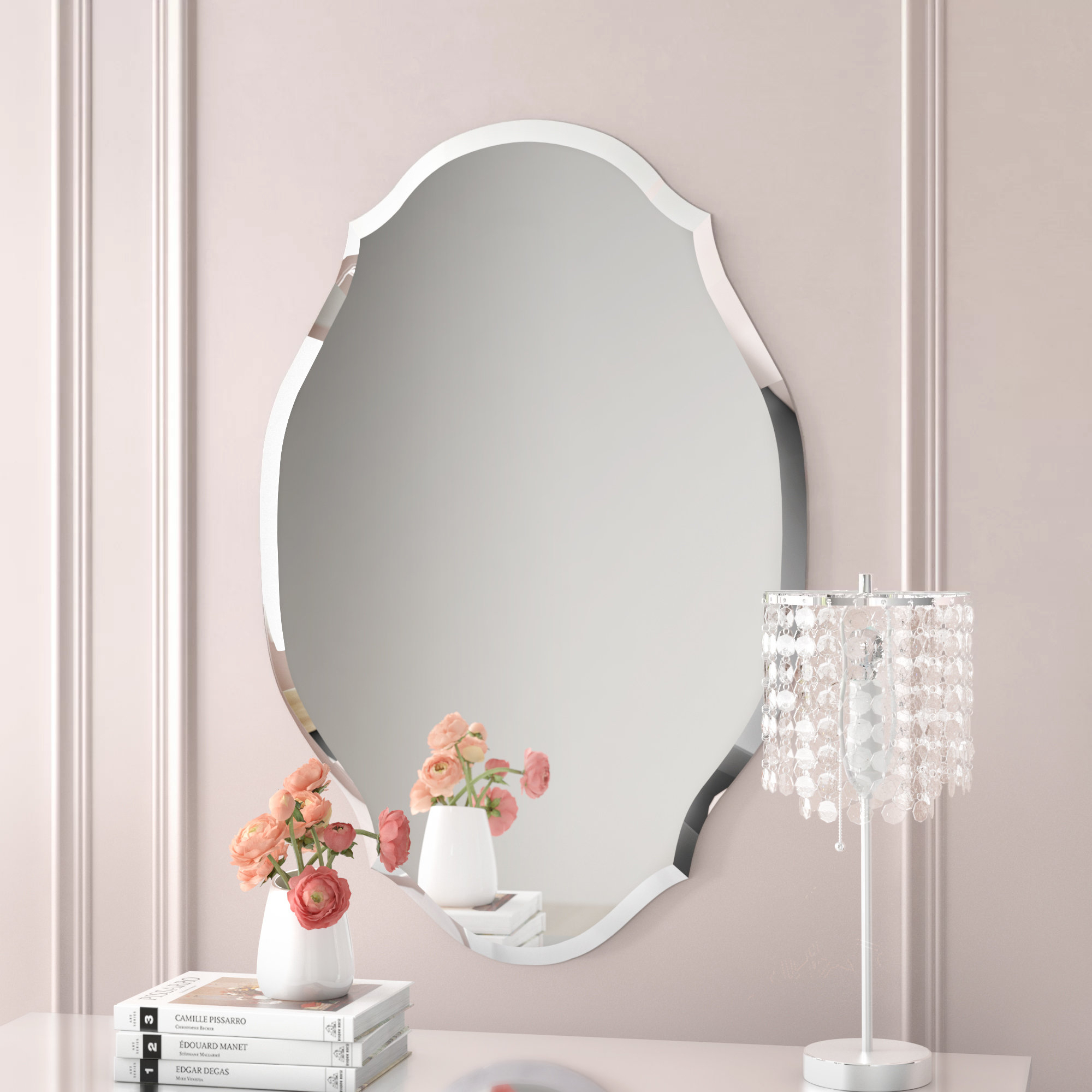 Egor Accent Mirror inside Estefania Frameless Wall Mirrors (Image 8 of 30)