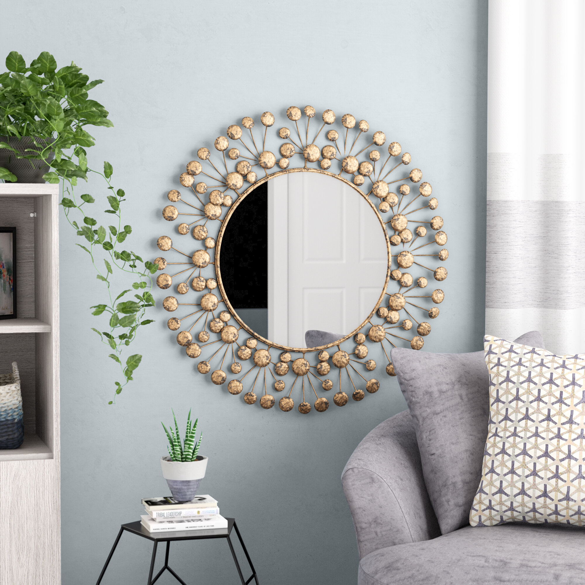 Eisenbarth Oversized Decorative Round Wall Mirror pertaining to Kentwood Round Wall Mirrors (Image 7 of 30)