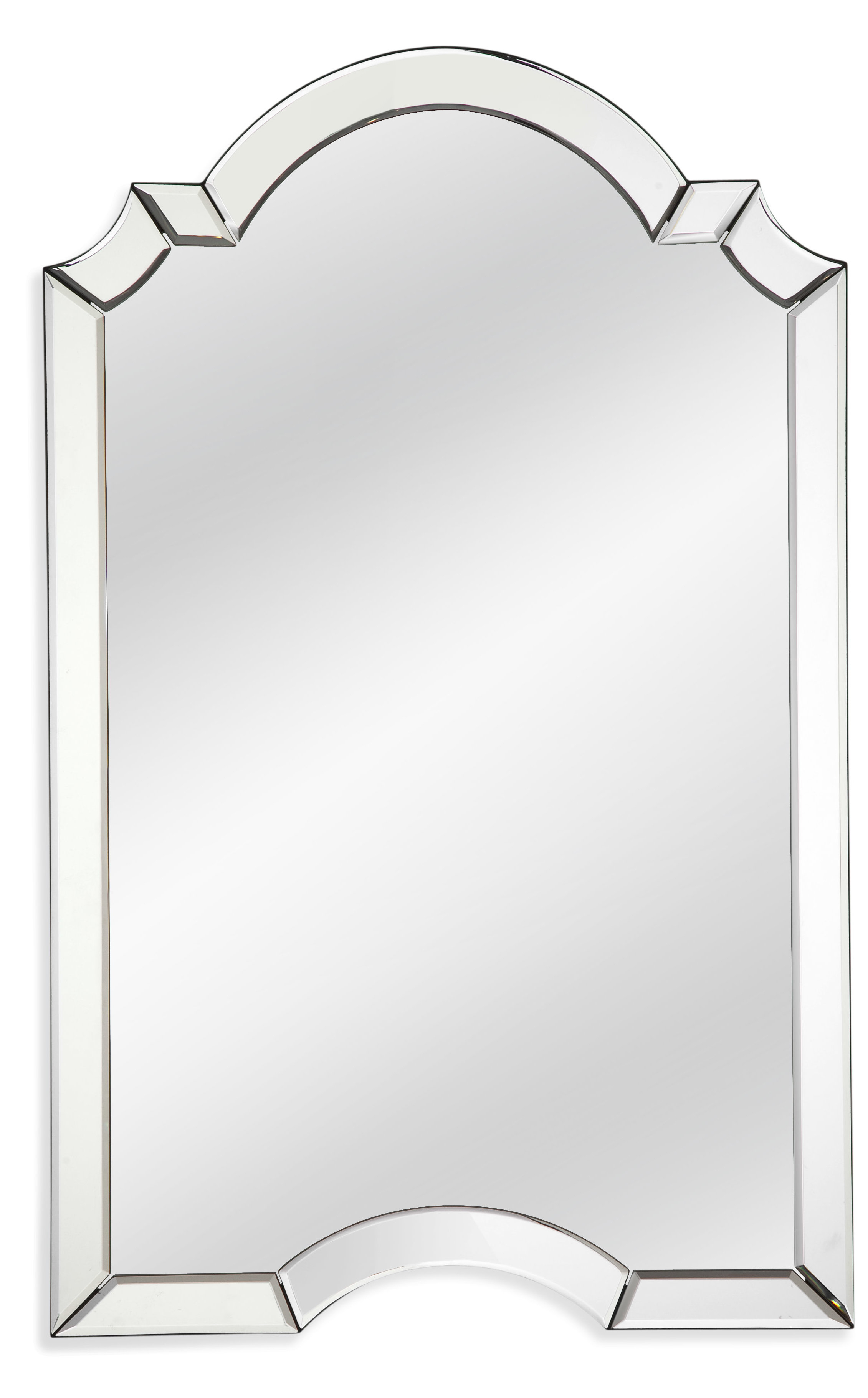 Ekaterina Arch/crowned Top Wall Mirror with regard to Dariel Tall Arched Scalloped Wall Mirrors (Image 10 of 30)