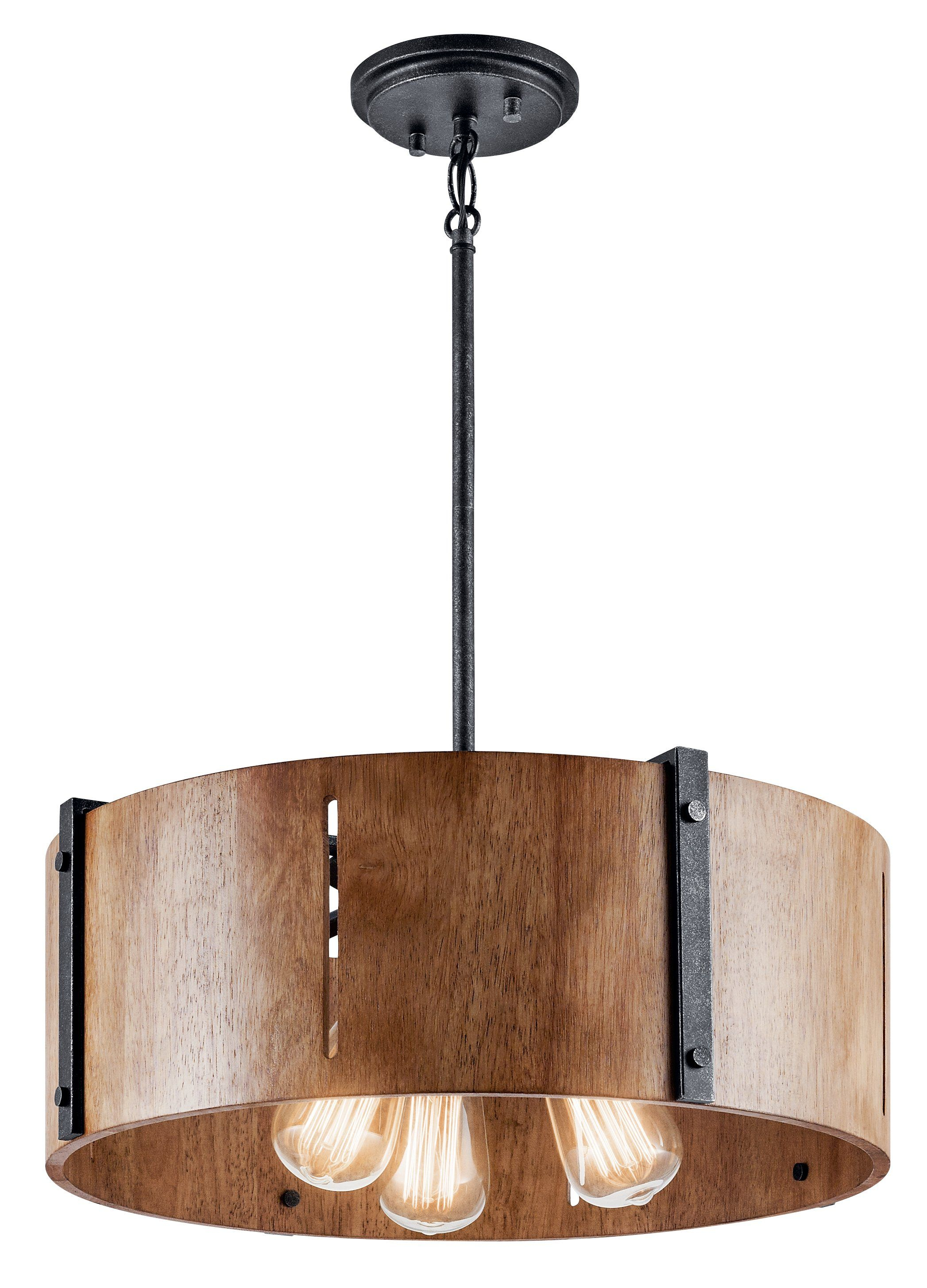 Elbur Pendant/semi Flush 3 Light - Distressed Black In 2019 pertaining to Montes 3-Light Drum Chandeliers (Image 5 of 30)