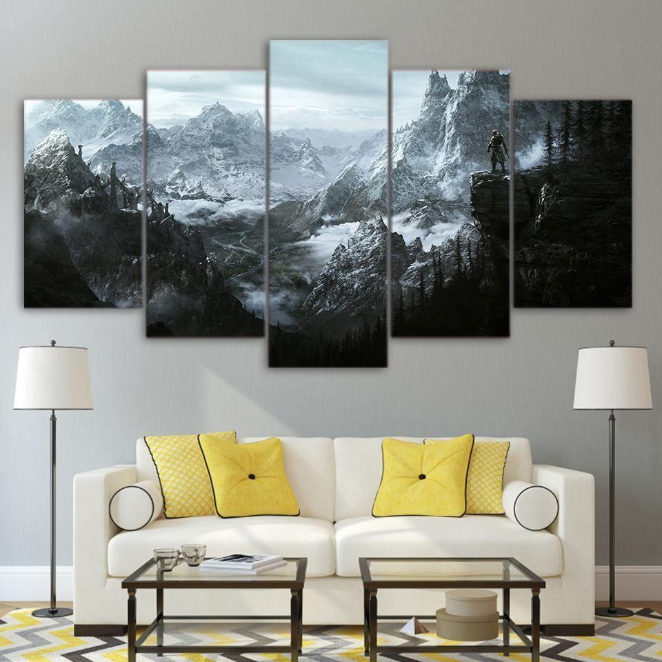 Elder Scrolls V Skyrim – Gaming 5 Panel Canvas Art Wall Decor Regarding Scroll Panel Wall Decor (View 21 of 30)