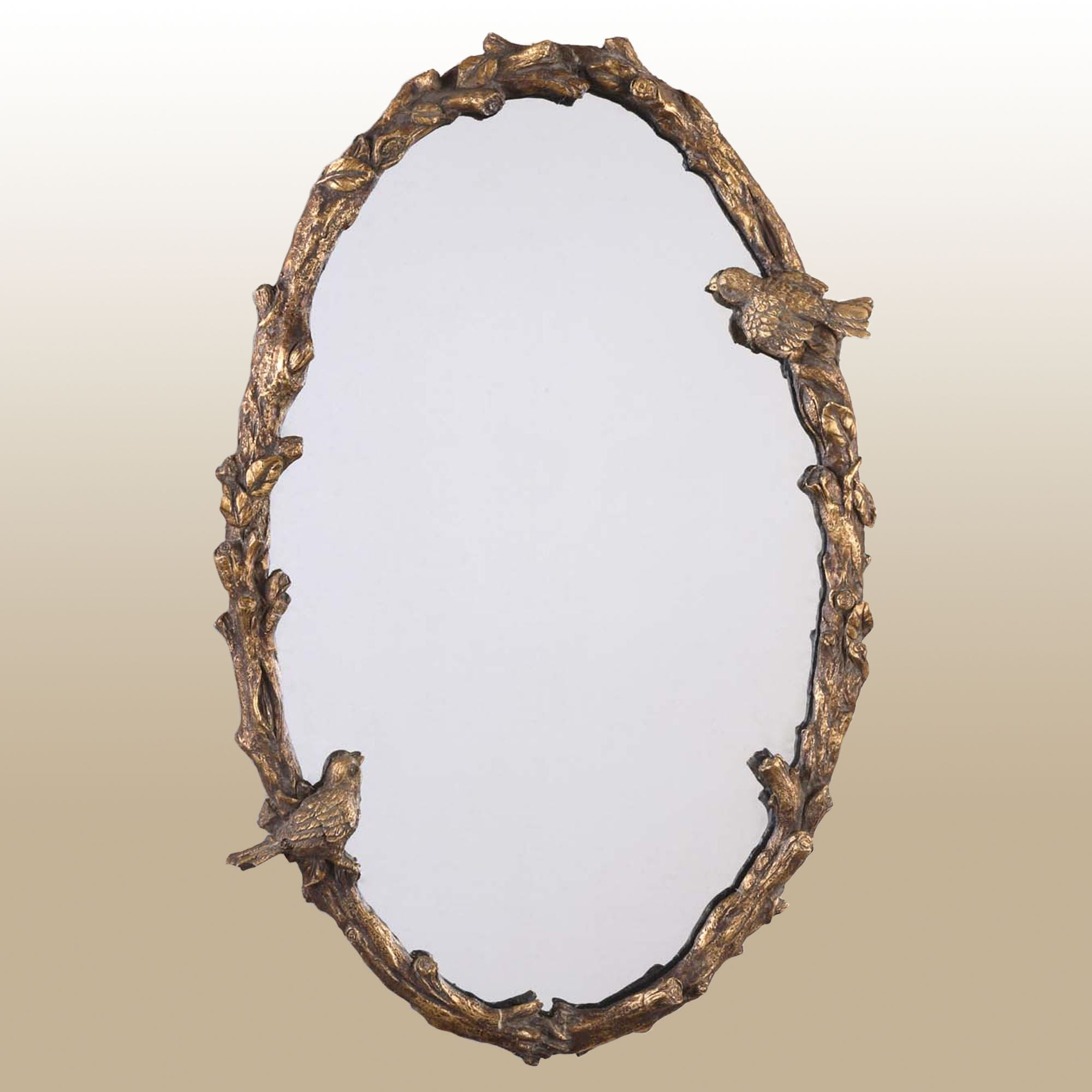 Elegant Birds Oval Wall Mirror Throughout Oval Wood Wall Mirrors (View 10 of 30)