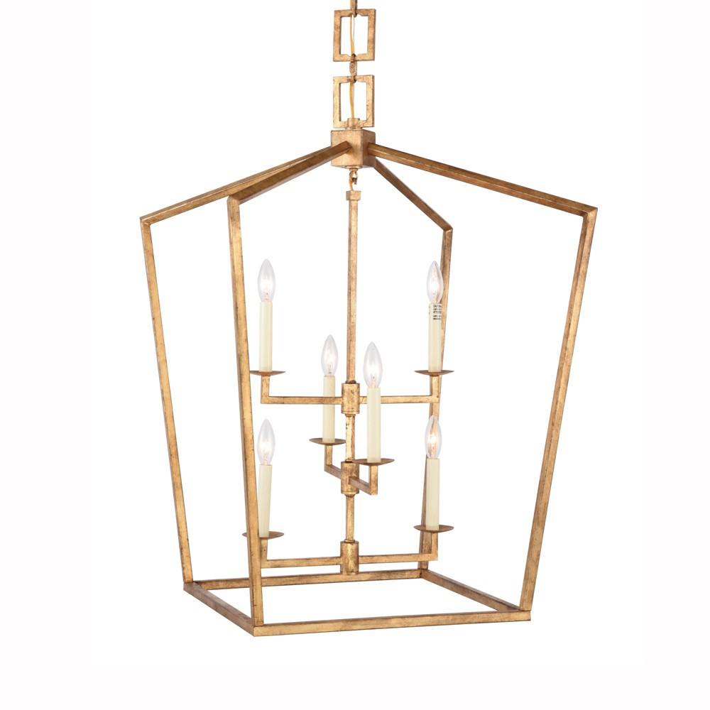 """Elegant Lighting 1512D24 Denmark 6 Light 24"""" Wide Cage Style With Tiana 4 Light Geometric Chandeliers (Photo 10 of 30)"""