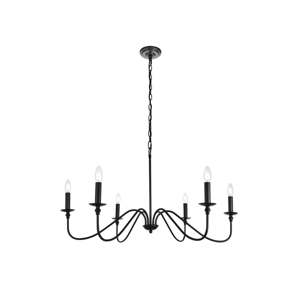 Elegant Lighting Rohan Matte Black Six Light Chandelier With Regard To Perseus 6 Light Candle Style Chandeliers (Gallery 25 of 30)