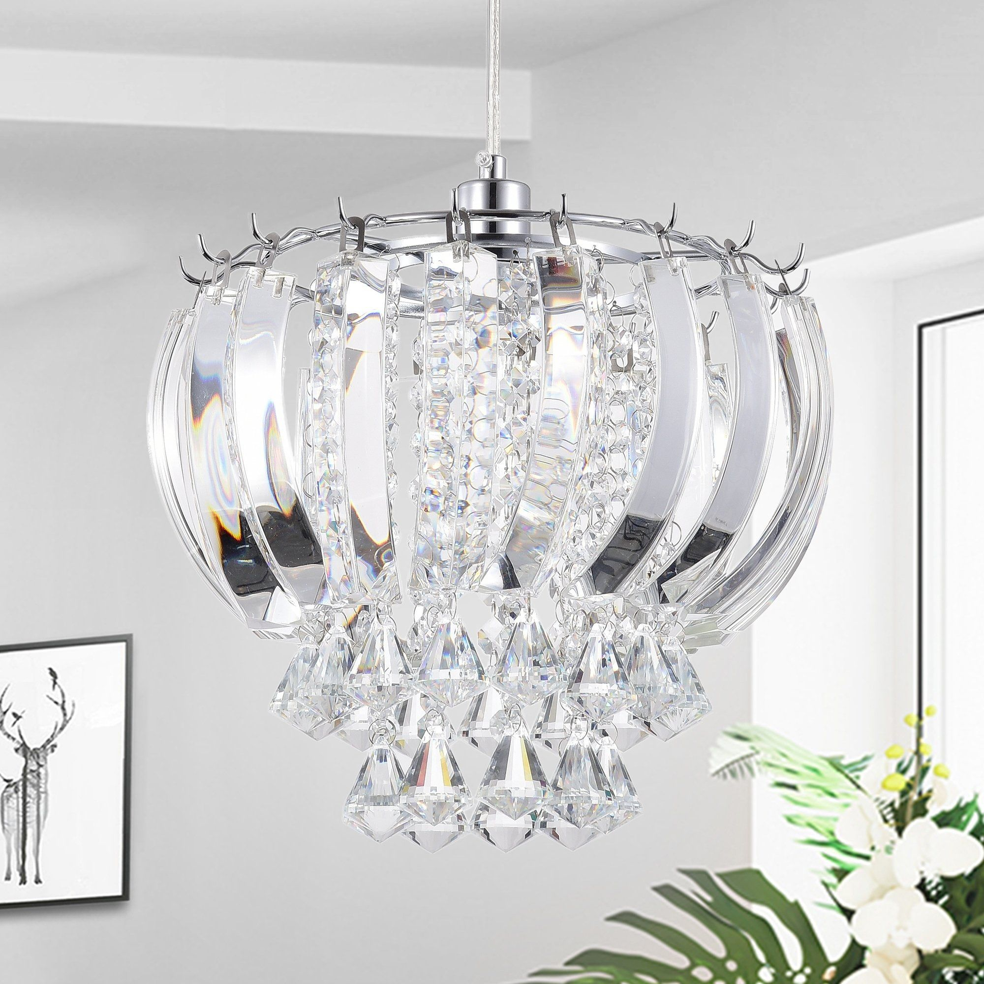 Elfman 1 Light Crystal Hanging Pendant | Products In 2019 With Regard To Edmundo 1 Light Unique / Statement Geometric Pendants (Photo 5 of 30)