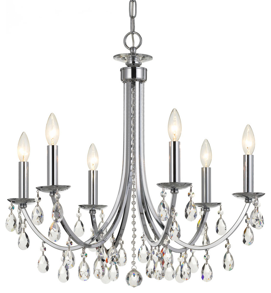 "Elight Design Crystal 26"" Wide Chrome Chandelier Within Millbrook 5 Light Shaded Chandeliers (Gallery 20 of 30)"