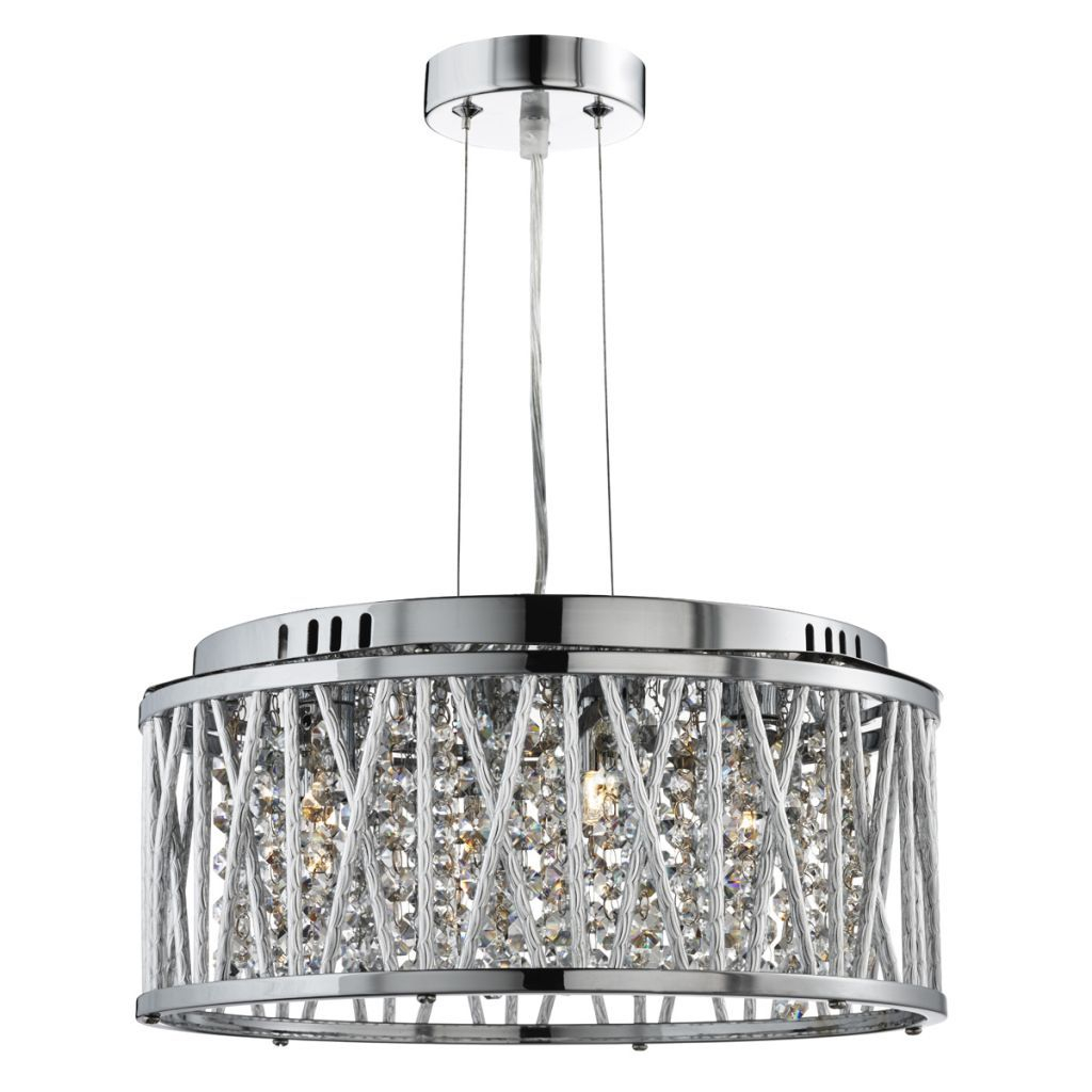 Elise Chrome 4 Light Fitting With Crystal Button Drops Regarding Sinead 4 Light Chandeliers (Gallery 20 of 30)