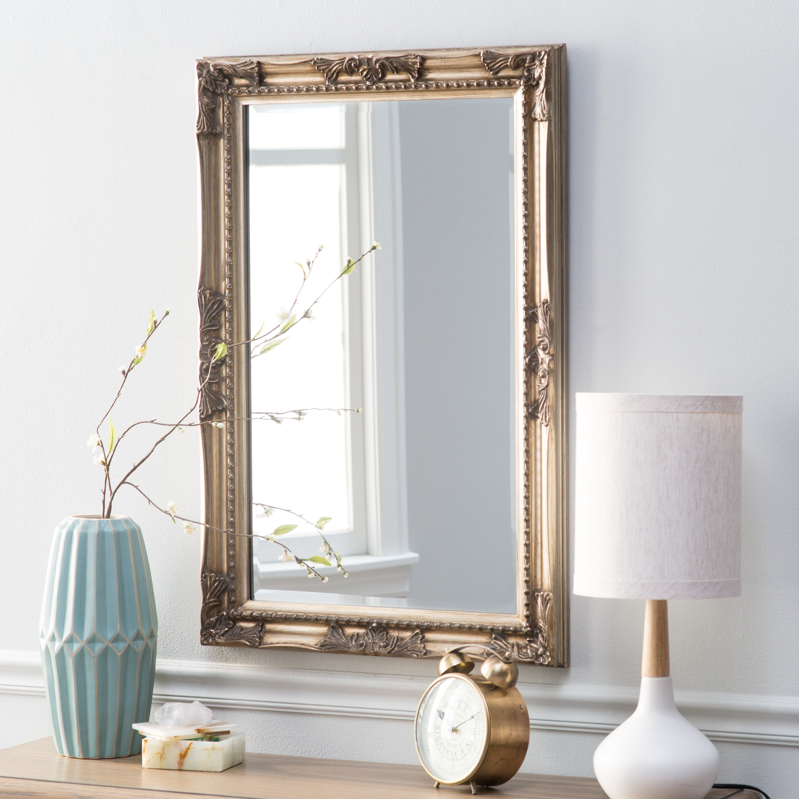 Elizabeth Austin Queen Anne Rectangle Wall Mirror with regard to Rectangle Ornate Geometric Wall Mirrors (Image 7 of 30)