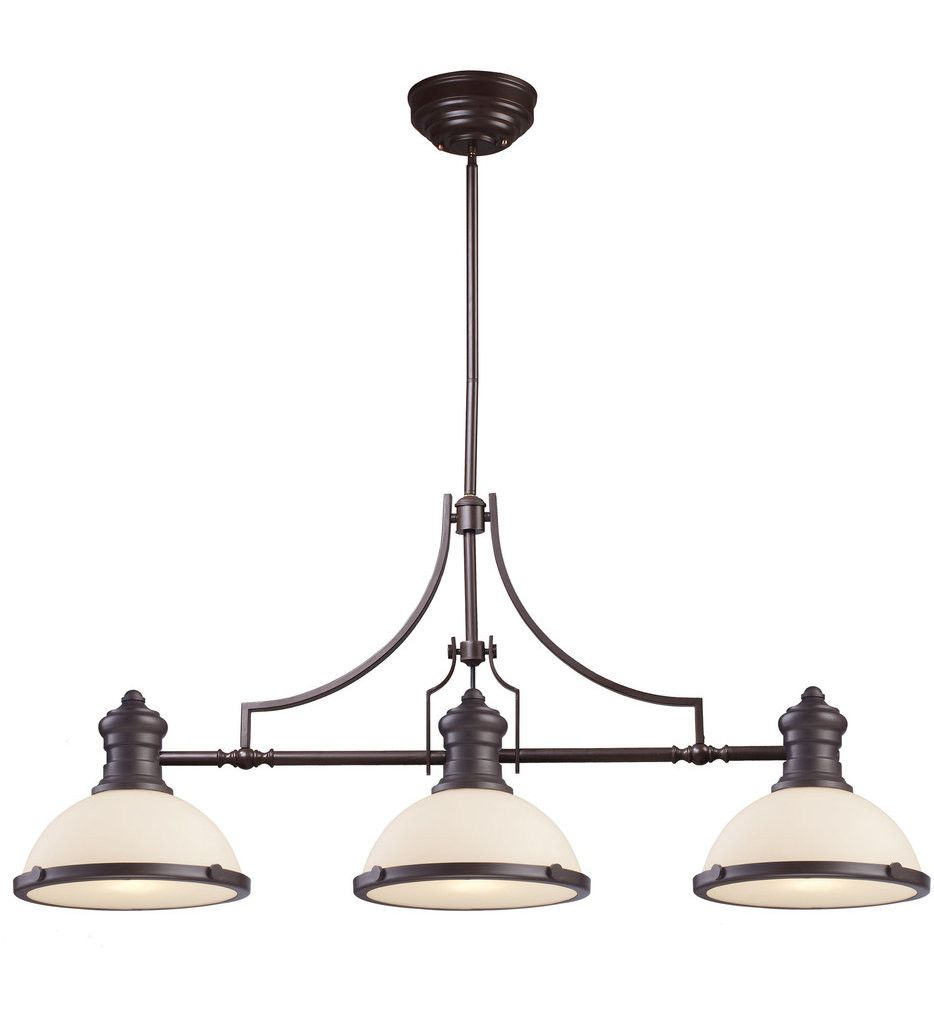 Elk Lighting – 66635 3 – Oil Rubbed Bronze 47 Inch 3 Light For Alayna 4 Light Shaded Chandeliers (Image 13 of 30)
