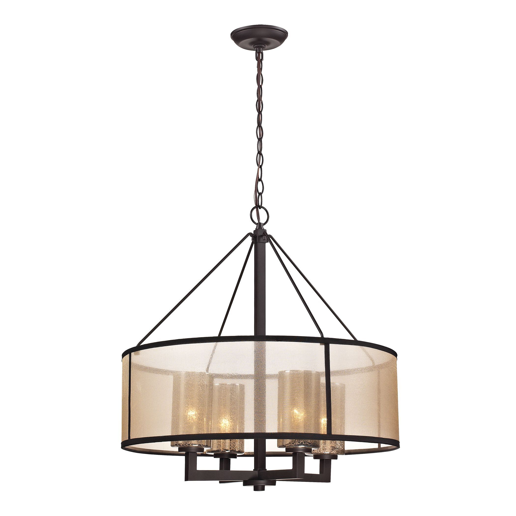 Elk Lighting 'diffusion' 4 Light Oil Rubbed Bronze With Regard To Harlan 5 Light Drum Chandeliers (Photo 24 of 30)