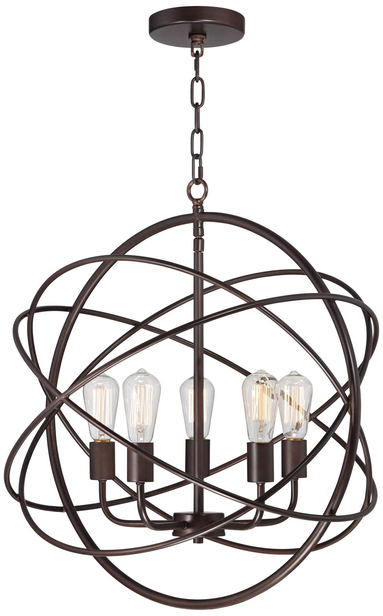 "Ellery 24 3/4"" Wide 5 Light Bronze Sphere Foyer Pendant In Throughout Kierra 4 Light Unique / Statement Chandeliers (Gallery 9 of 30)"