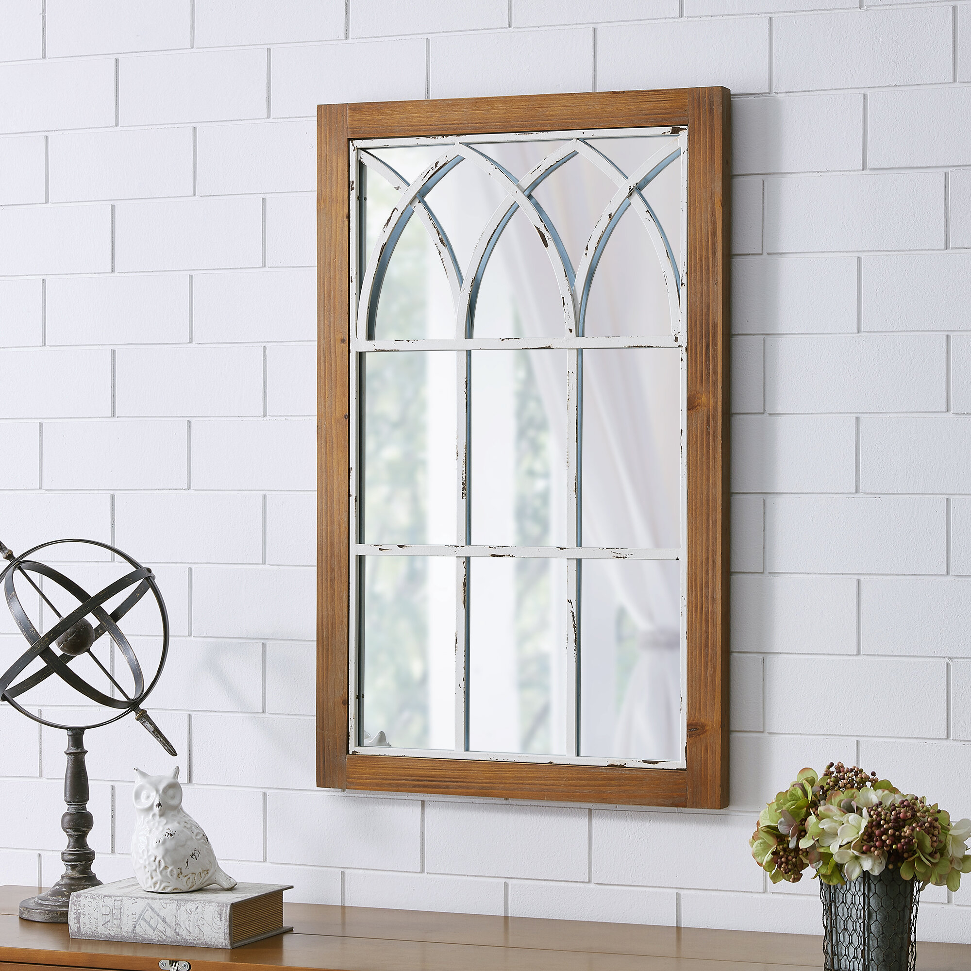 Embry Arched Window Traditional Accent Mirror Intended For Traditional Metal Wall Mirrors (Photo 3 of 30)