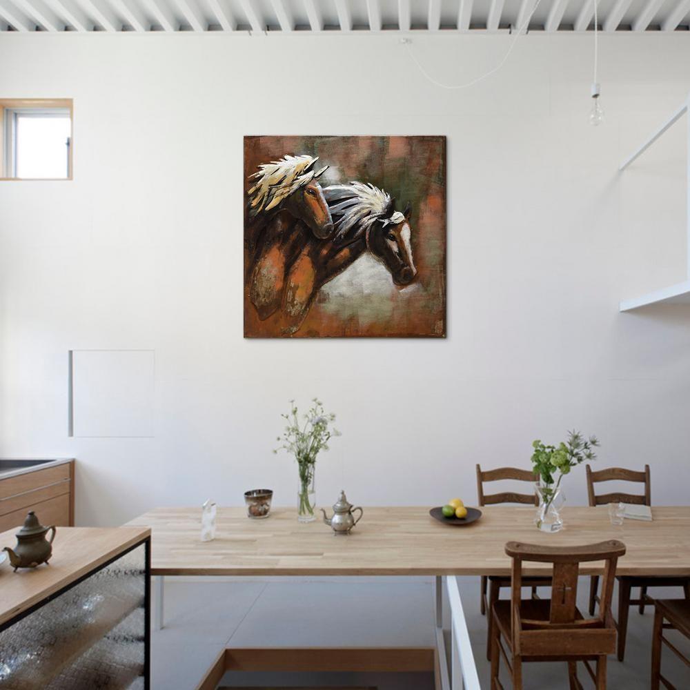 """Empire Art Direct """"""""horses""""""""mixed Media Iron Hand Painted Inside Mixed Media Iron Hand Painted Dimensional Wall Decor (Gallery 15 of 30)"""