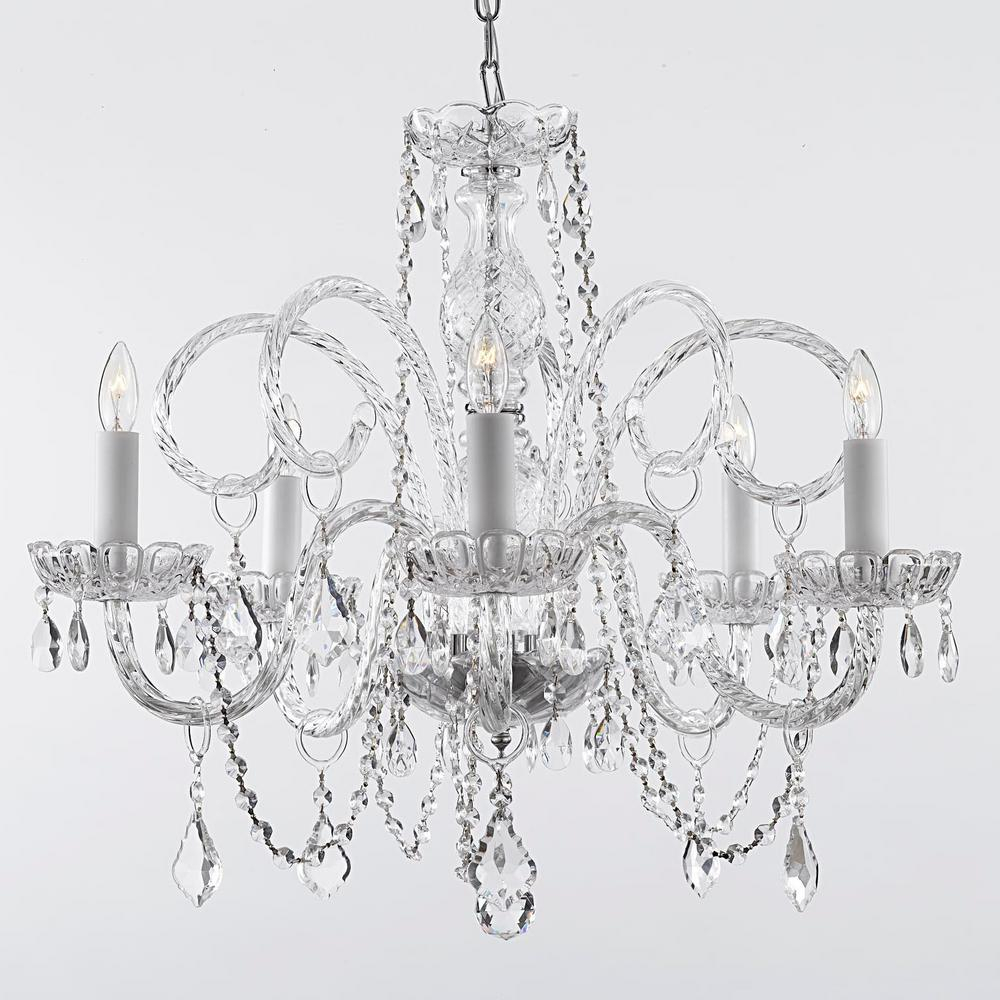 Empress Crystal 5 Light Chandelier Regarding Verdell 5 Light Crystal Chandeliers (Gallery 10 of 30)