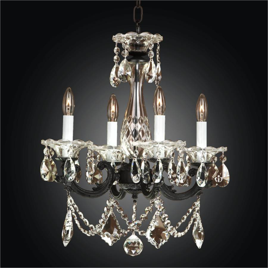 English Manor 546Ld Leaf Prism Small Chandelier | 4 Light For Von 4 Light Crystal Chandeliers (Photo 24 of 30)