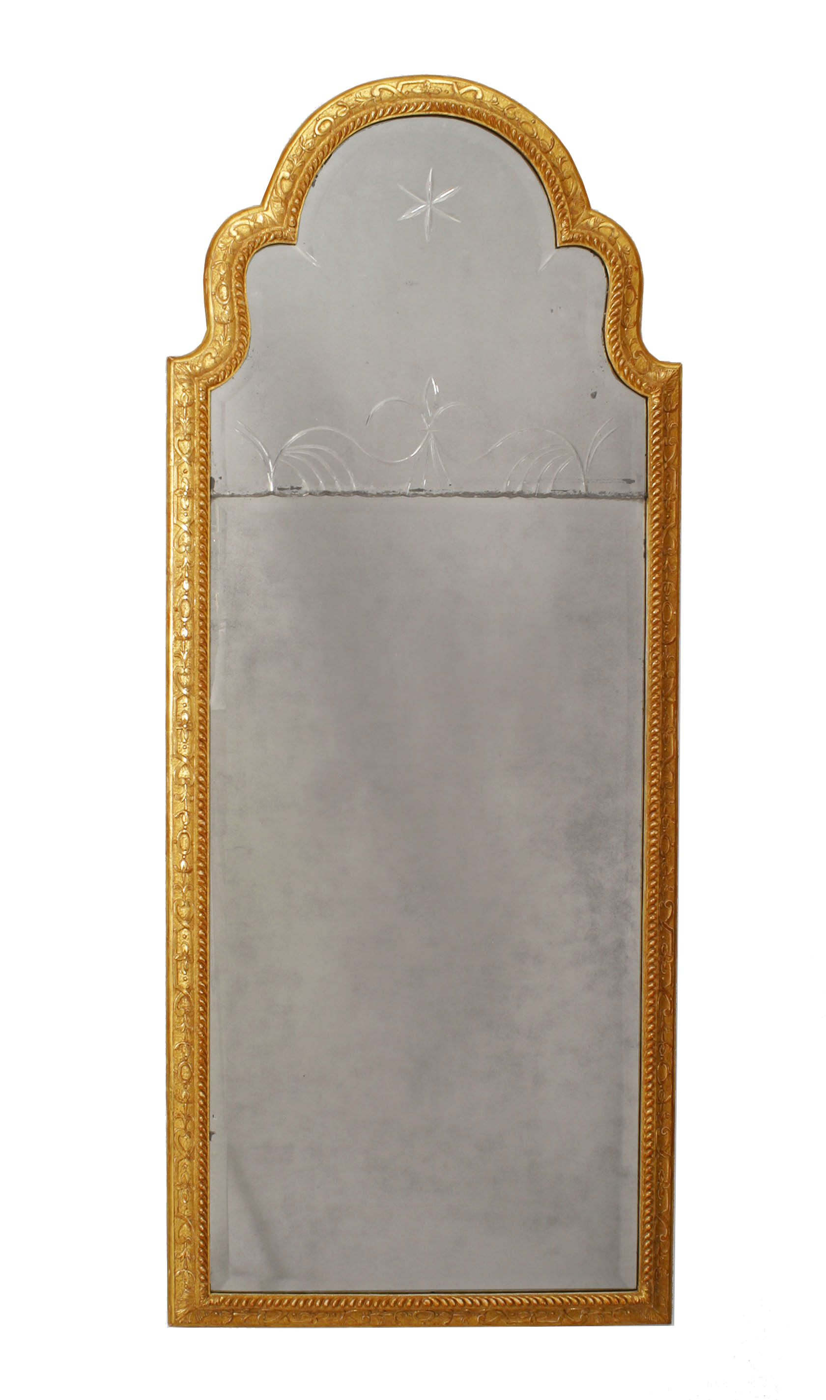 English Queen Anne Gilt Wall Mirror | Newel With Arch Vertical Wall Mirrors (Photo 30 of 30)