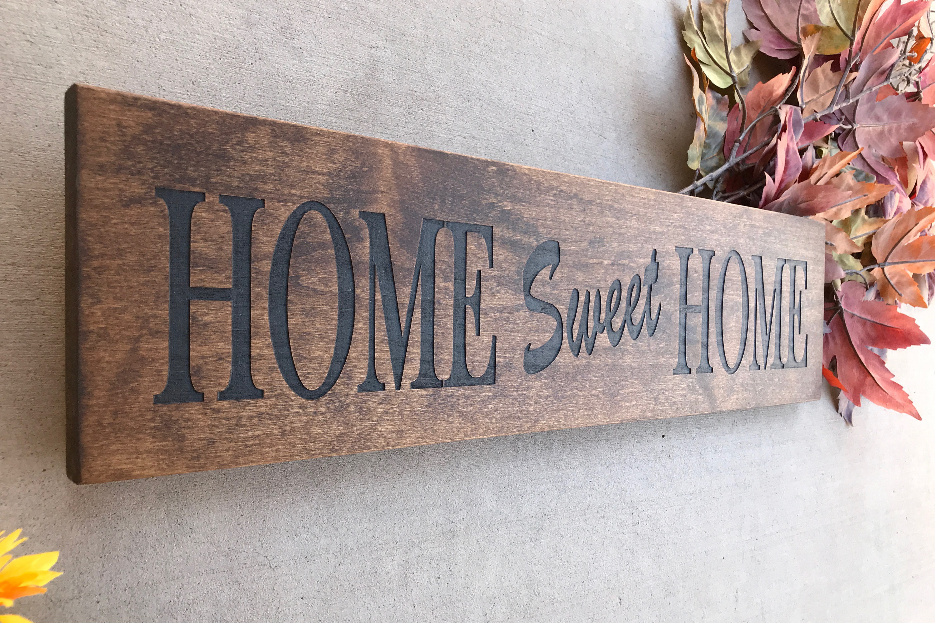 Engraved Wood Home Sign / Inspirational Sign / Custom Wall Regarding Laser Engraved Home Sweet Home Wall Decor (View 10 of 30)
