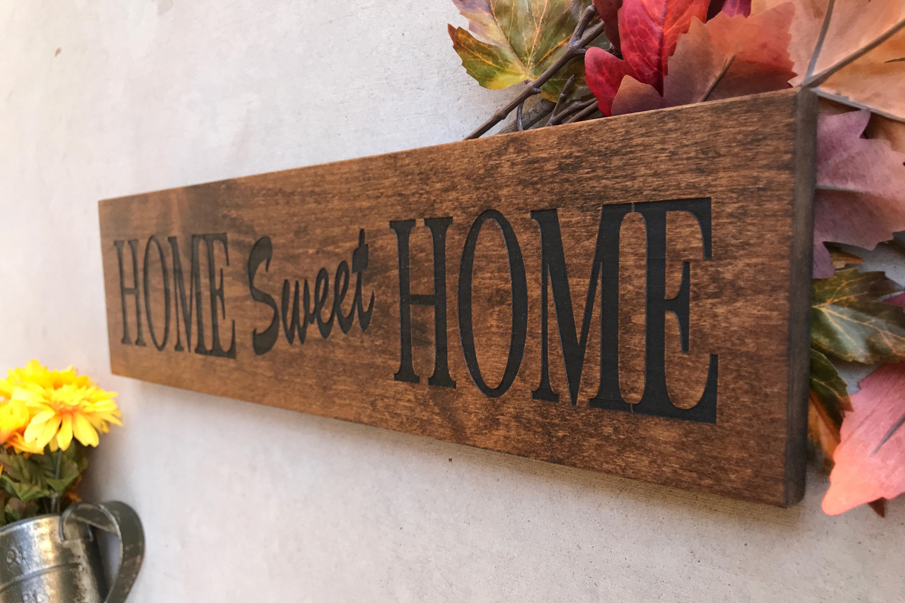 Engraved Wood Home Sign / Inspirational Sign / Custom Wall With Laser Engraved Home Sweet Home Wall Decor (Photo 4 of 30)
