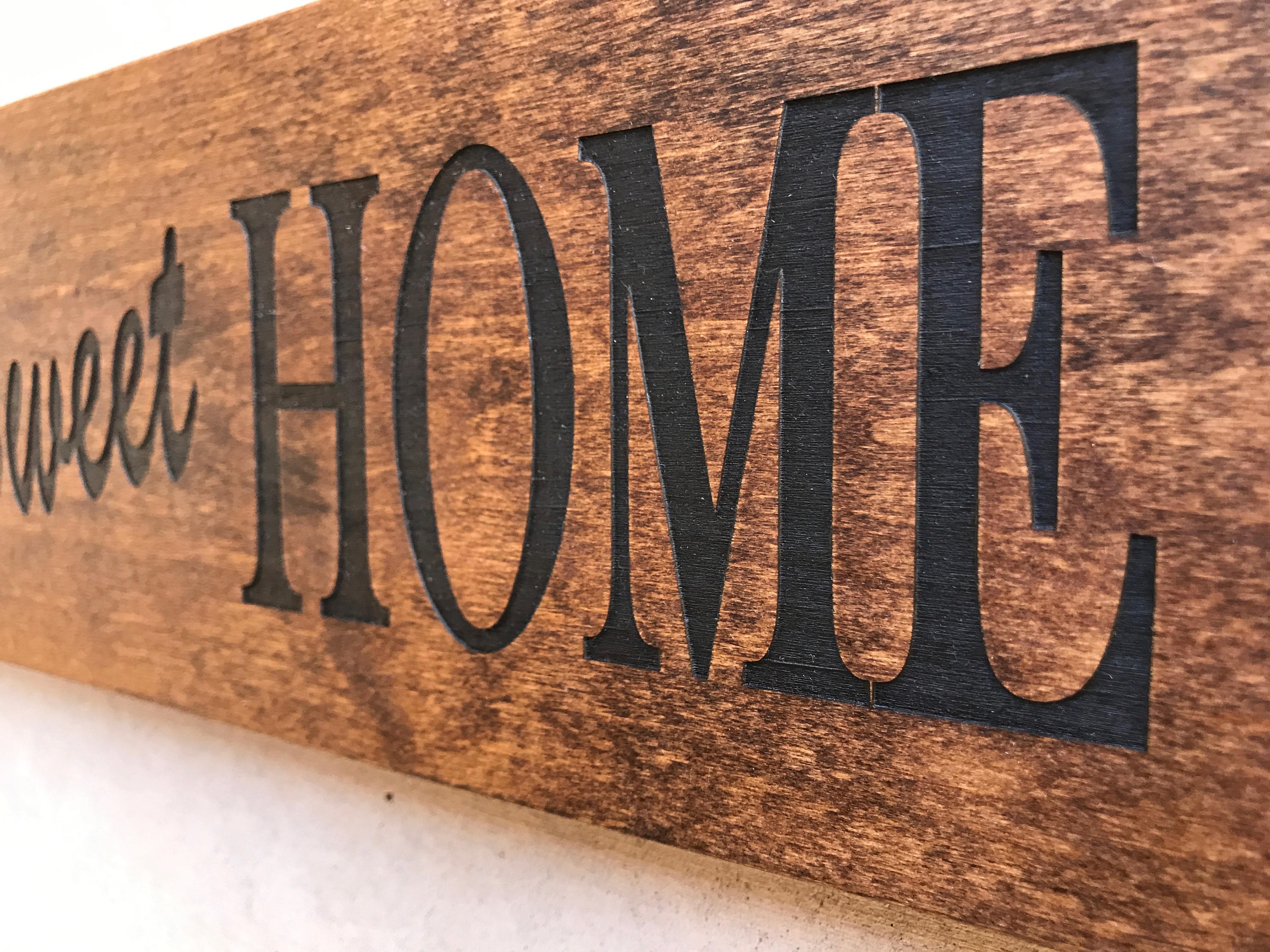 Engraved Wood Home Sign / Inspirational Sign / Custom Wall Within Laser Engraved Home Sweet Home Wall Decor (Photo 19 of 30)