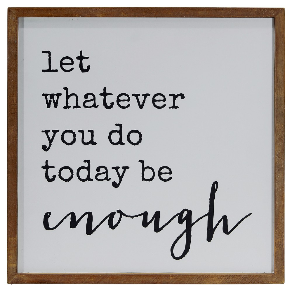 "Enough Wall Décor White (14""x14"") - Vip Home & Garden, In for Let Whatever You Do Today Be Enough Wood Wall Decor (Image 6 of 30)"