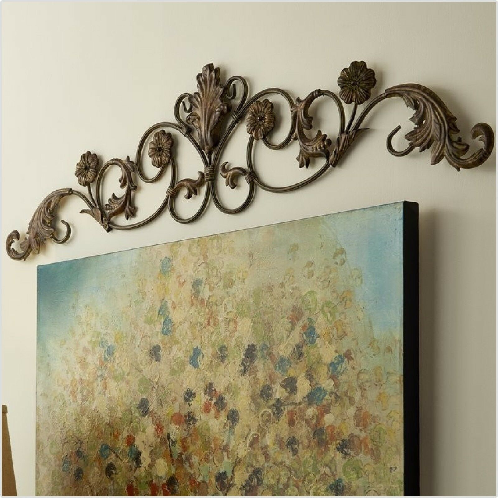 Entryway Wrought Iron Wall Art Decor Door Topper Rustic Tuscan Metal Sculpture Intended For Scroll Panel Wall Decor (View 13 of 30)