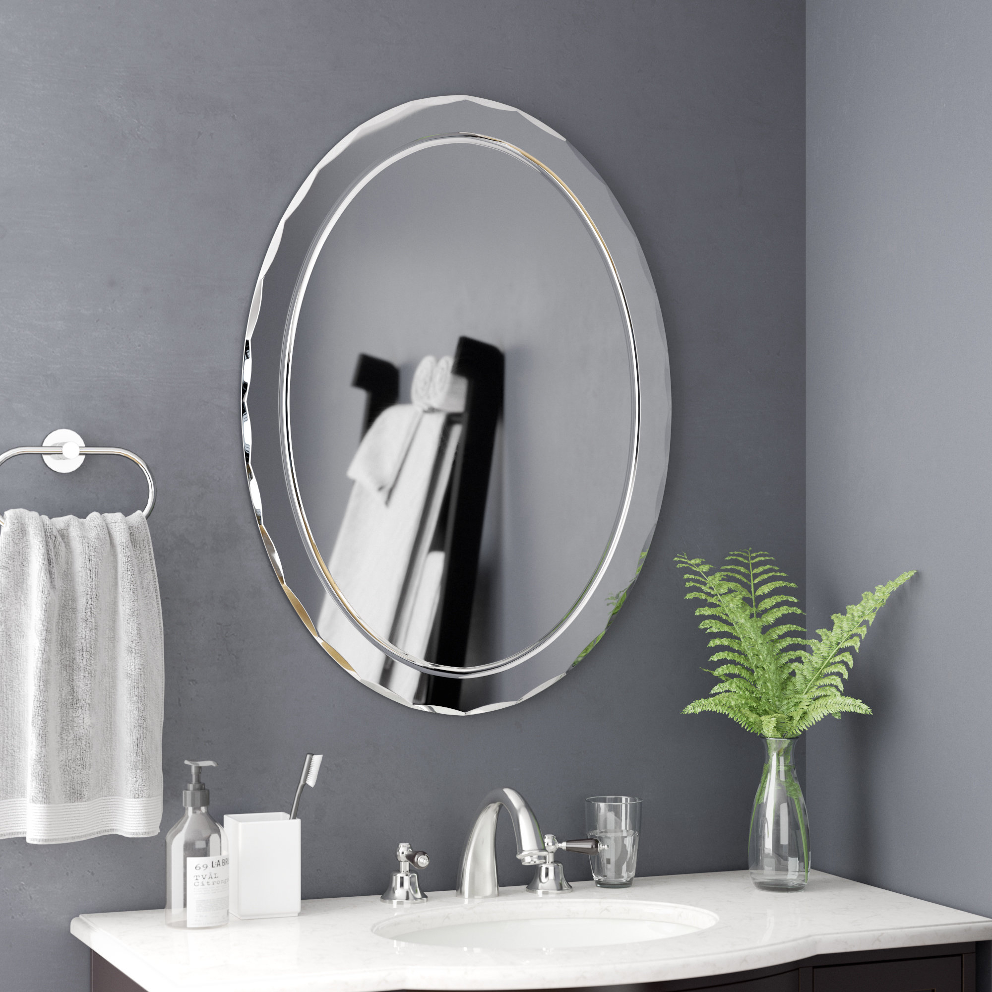 Etched Frameless Wall Mirror | Wayfair Intended For Wallingford Large Frameless Wall Mirrors (View 8 of 30)