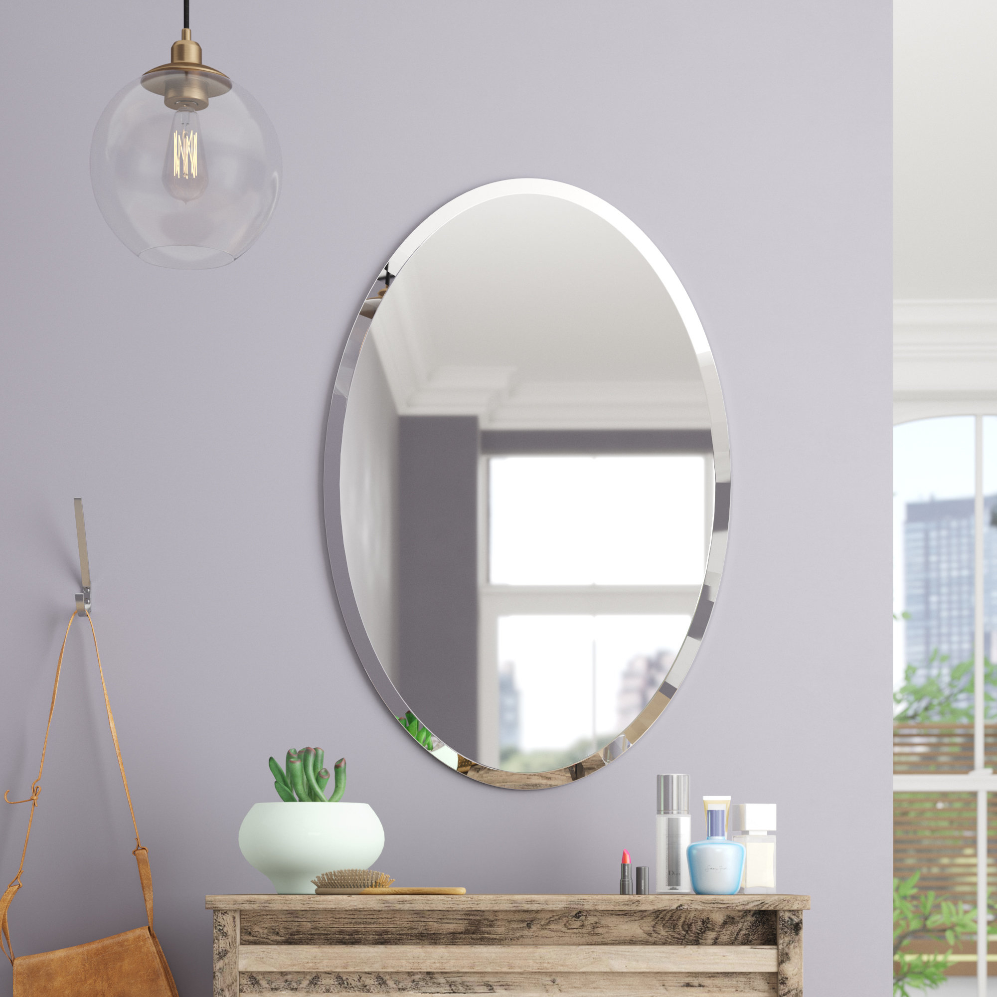 Etched Frameless Wall Mirror | Wayfair throughout Estefania Frameless Wall Mirrors (Image 13 of 30)