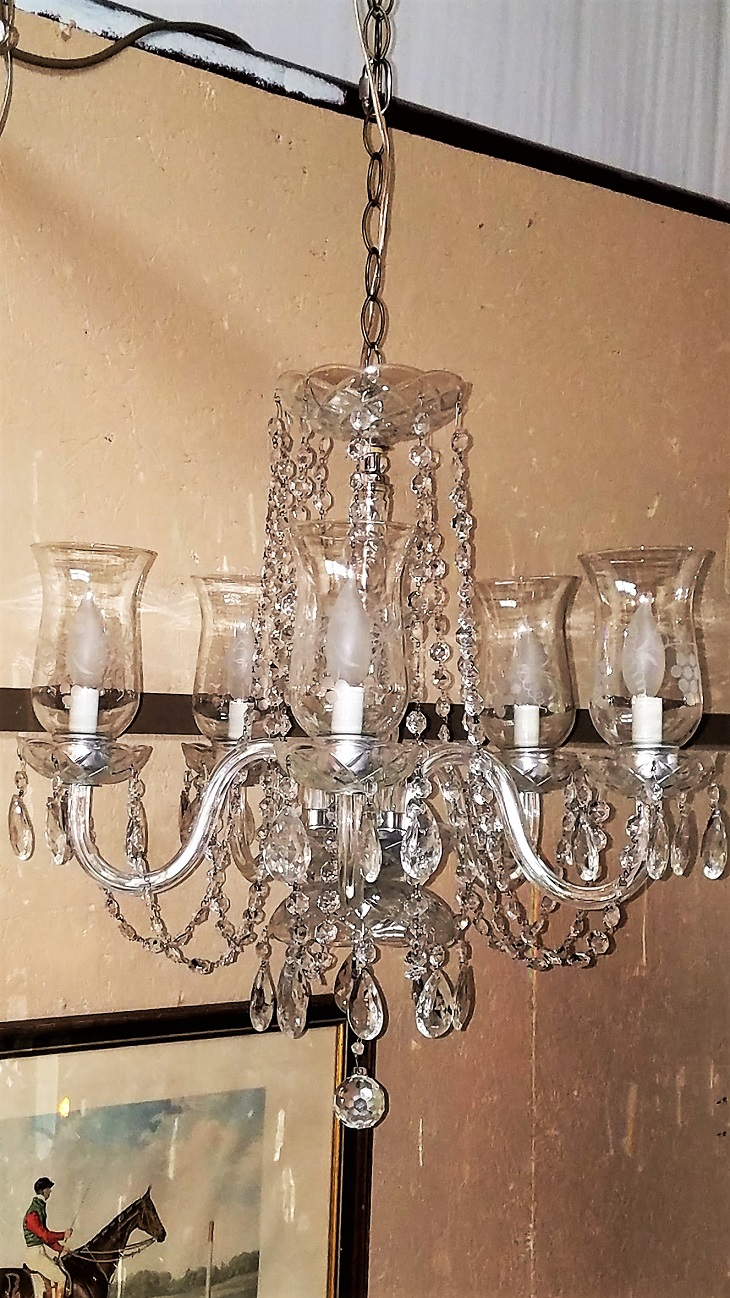 Etched Hurricane Shade Crystal 5 Arm Chandelier – Rockwell Intended For Thresa 5 Light Shaded Chandeliers (Gallery 16 of 30)