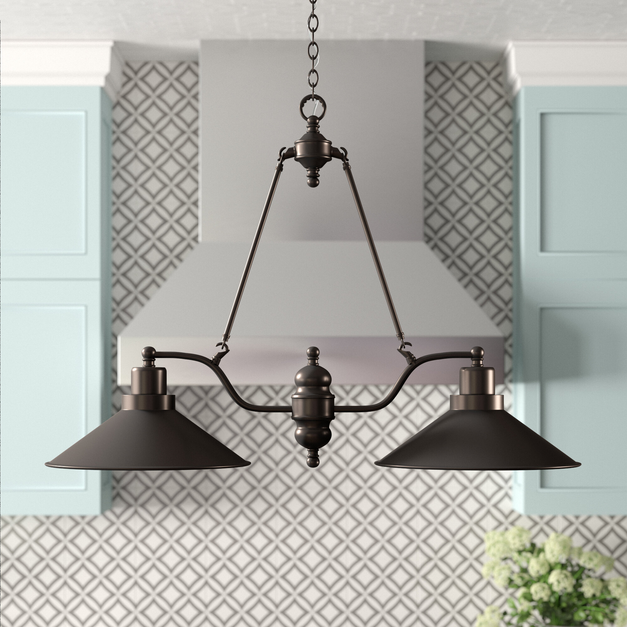 Euclid 2 Light Kitchen Island Linear Pendant With Regard To Cinchring 1 Light Cone Pendants (View 17 of 30)