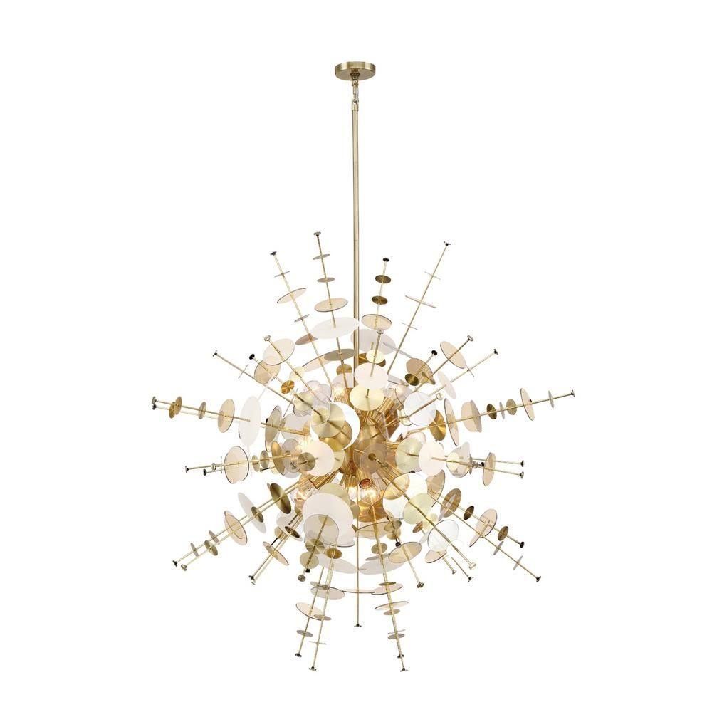 Eurofase Bonazzi 12 Light Brass Chandelier 34084 014 Intended For Nelly 12 Light Sputnik Chandeliers (Gallery 21 of 30)