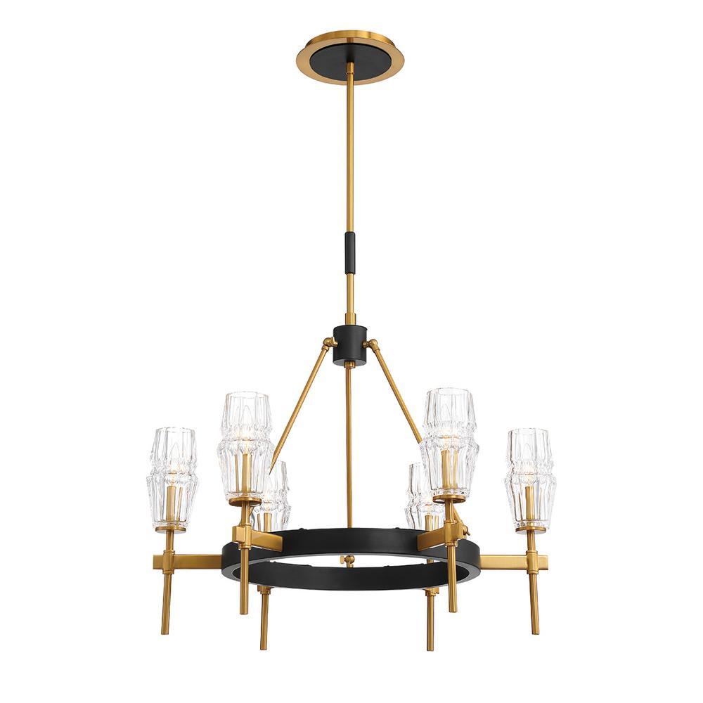 Eurofase Gladstone 6 Light Antique Brass/black Chandelier With Glass Shade In Millbrook 5 Light Shaded Chandeliers (View 14 of 30)